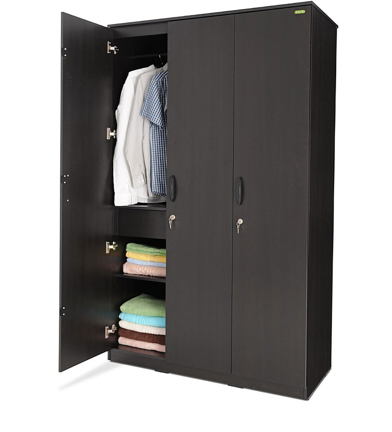 Buy Star Three Door Wardrobe In Imperial Teak Finish By