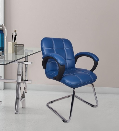 Buy The Azul Low Back Visitor Chair In Blue in Blue Colour