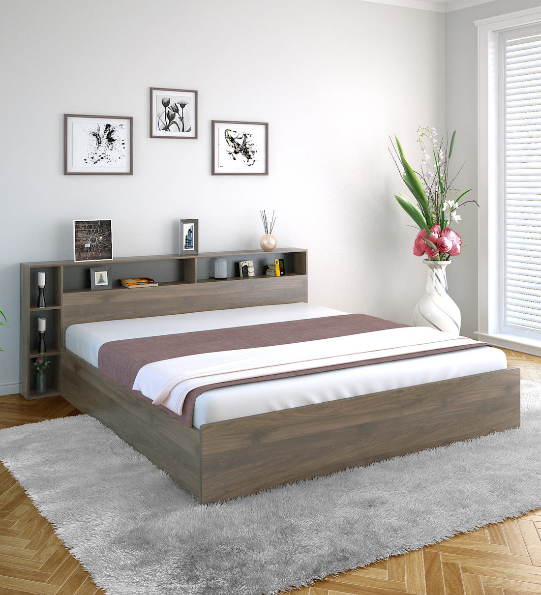 Buy Torrie Queen Size Bed With Storage By Home Online Modern Queen Size Beds Beds Furniture Pepperfry Product