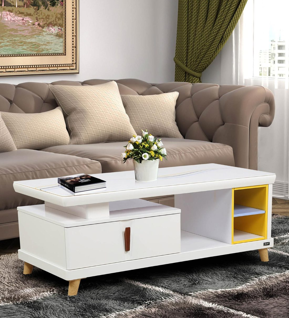 Buy Tulsa Center Table With Drawer In Ivory Finish By Parin Online Contemporary Rectangular Coffee Tables Tables Furniture Pepperfry Product