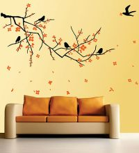 Buy WallTola PVC Vinyl Nature Black Branch with Flowers ...