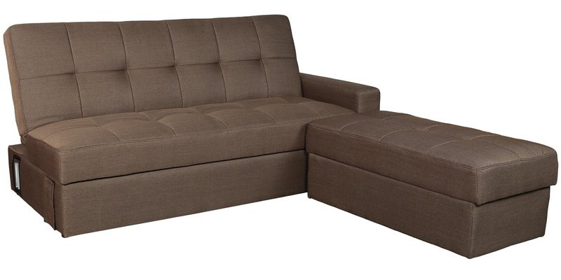 Buy Maceio Storage Sofa Cum Bed With Ottoman In Brown