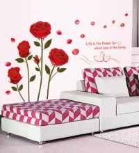 Buy WallTola PVC Vinyl Bedroom Romantic Rose Flowers Wall ...