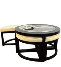 Black Forest Round Coffee Table with 4 Stools by Mudramark ...