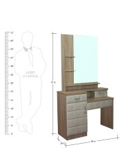 Buy Dressing Table & Stool in Natural & White Colour by ...
