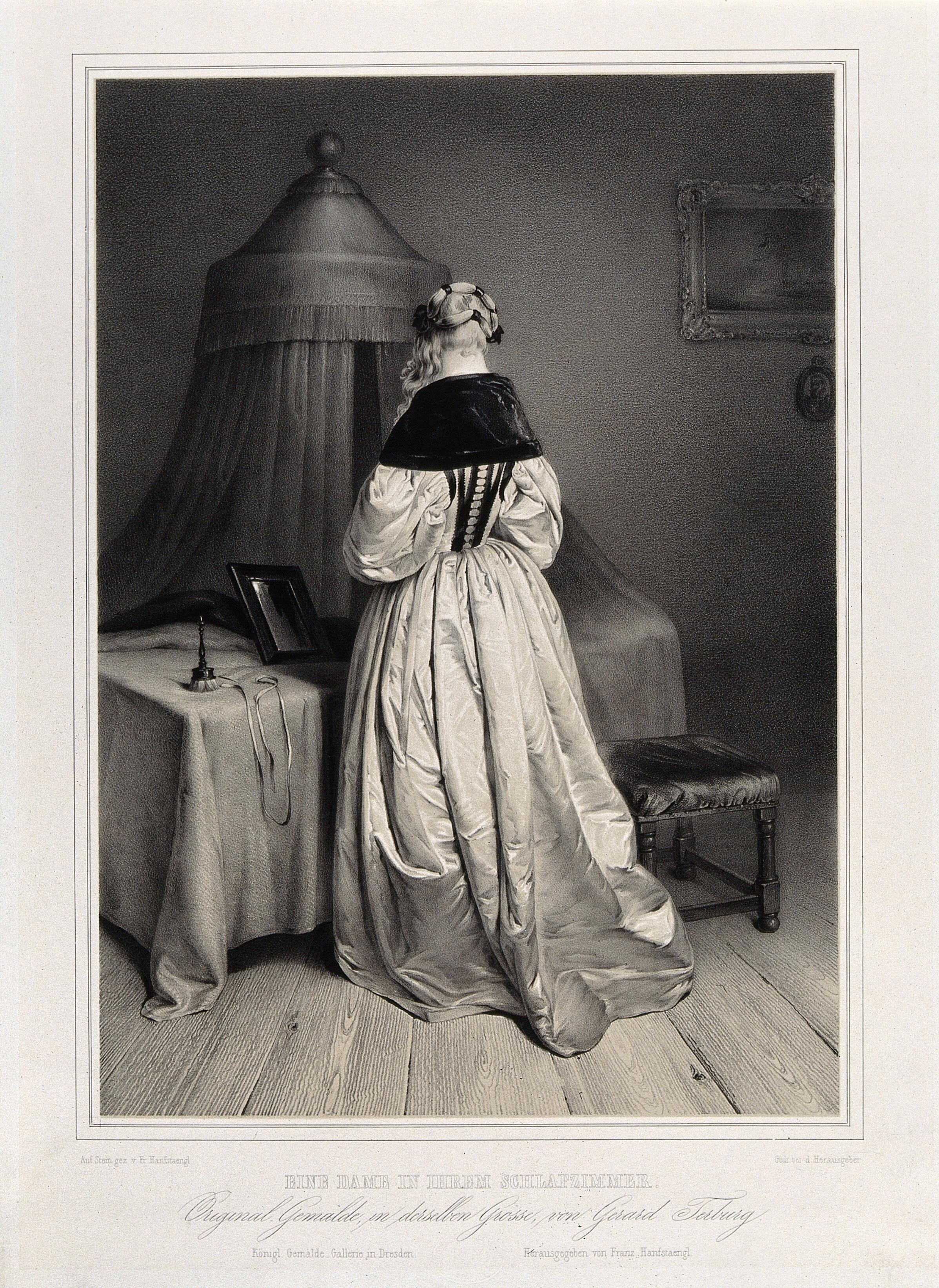 A Woman Seen From Behind Standing At Her Dressing Table Upon Which Is Placed A Powder Puff And A Mirror Behind Is A Bed With A Canopy Lithograph By F Hanfstaengl After