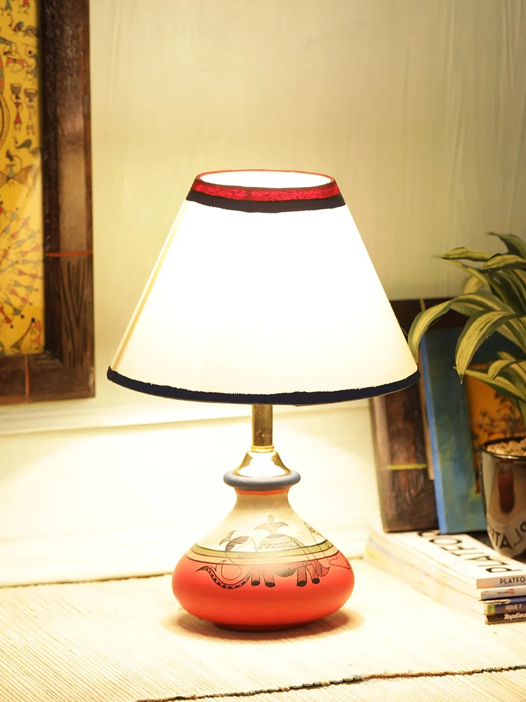 Bed Table Lamps Carrot Red Madhubani Terracotta Bed Side Table Lamp With Cream Shade