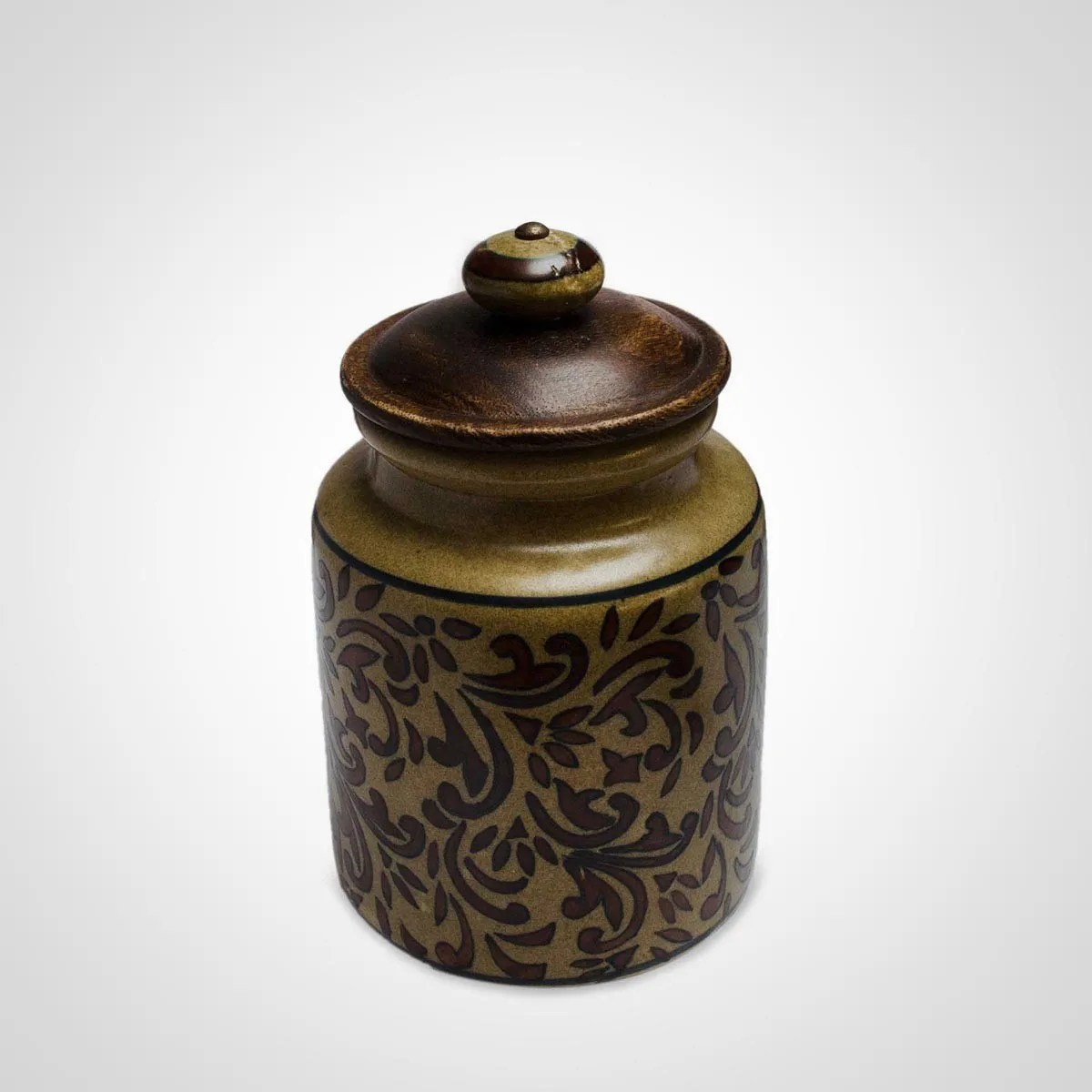 Lid And Jar Brown Ceramic Jar With Lid