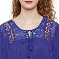 Blue Tie Neck Top | W17392wbl001