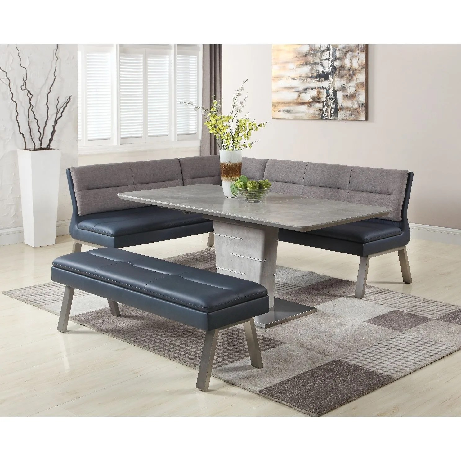 Jezebel 3 Pieces Dining Set Table Nook Bench Bostonconcept Com