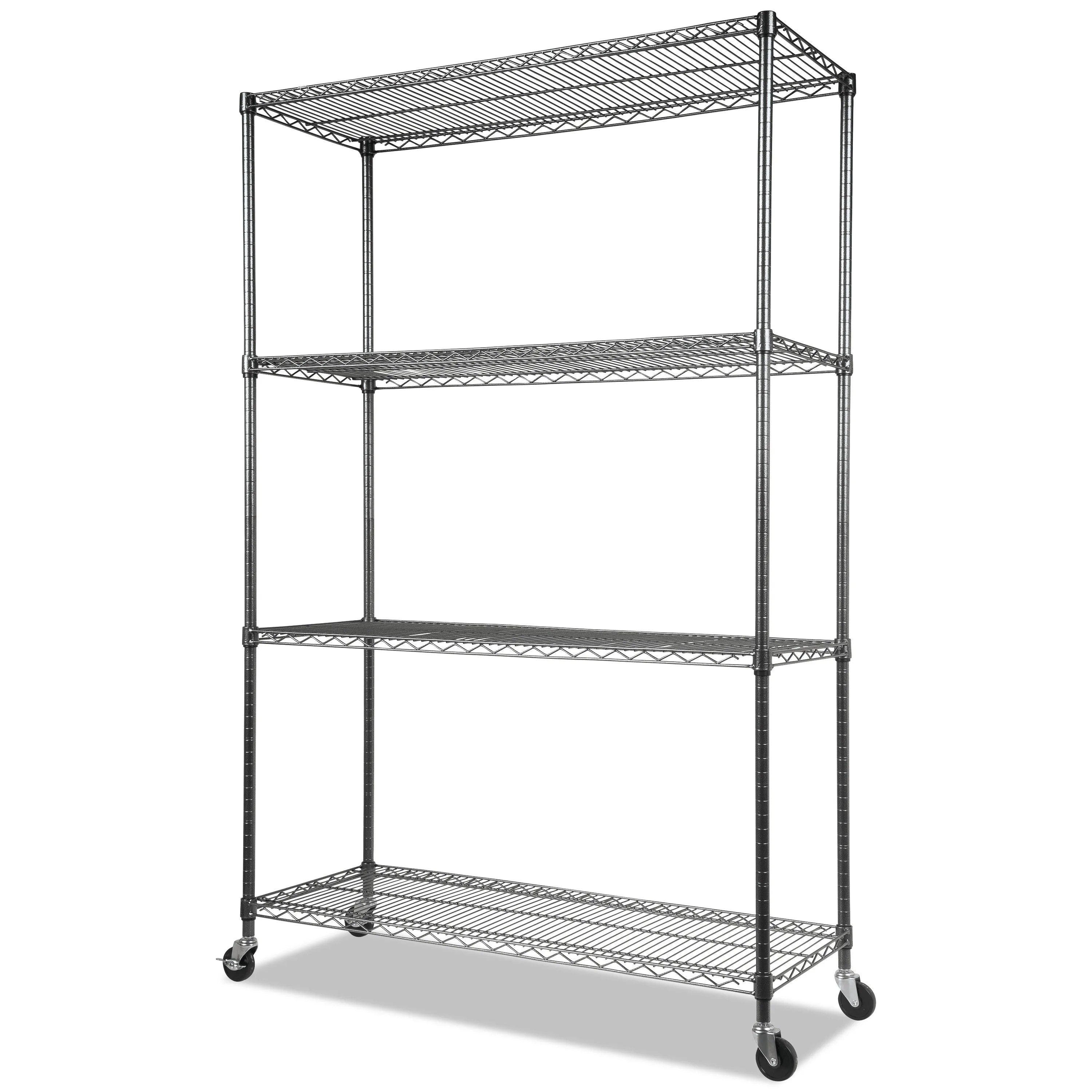 Mesh Shelving Complete Wire Shelving Unit W Caster Four Shelf 48 X 18 X 72 Black Anthracite