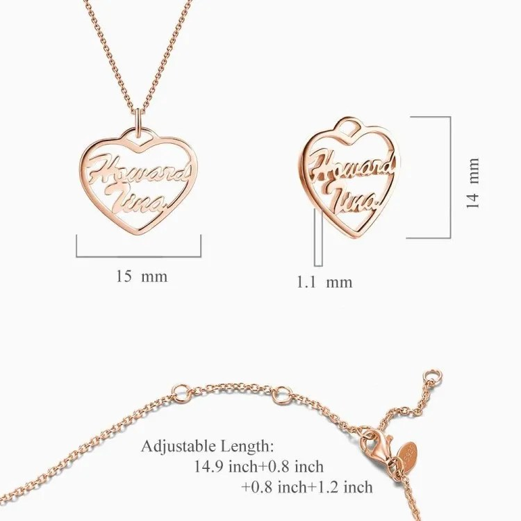 Small Personalized Heart Two Name Necklace Rose Gold Plated Silver