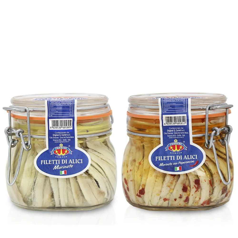 Come Cucinare Le Alici Marinate 2 Vasetti Misti Alici Marinate 550 Gr Alici Marinate Al Peperoncino 550 Gr
