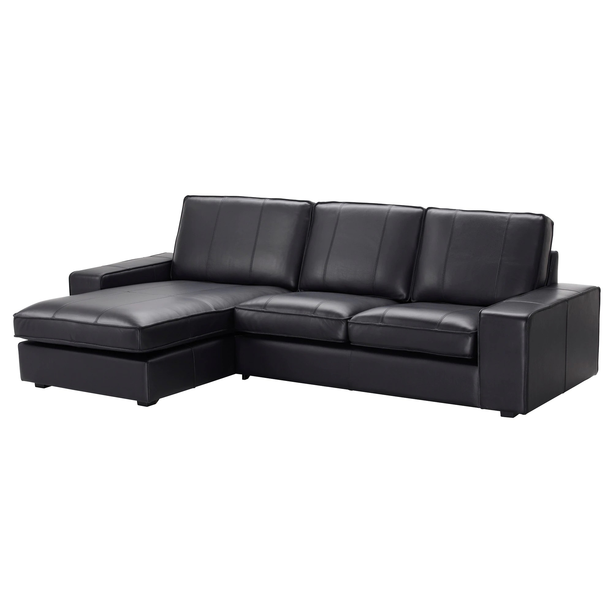 Kivik Sofa Leather Kivik Sofa With Chaise Grann Bomstad Grann Bomstad Black