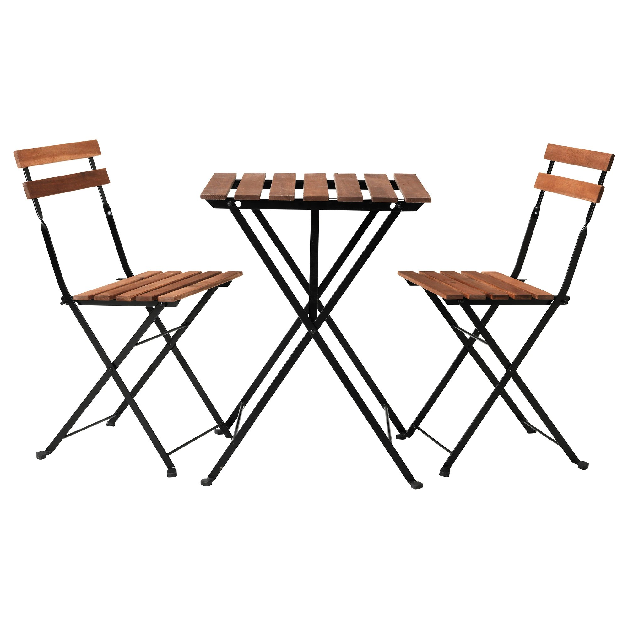 Folding Wooden Table Ikea TÄrnÖ Table 2 Chairs Outdoor Black Acacia Steel Gray Brown Stained