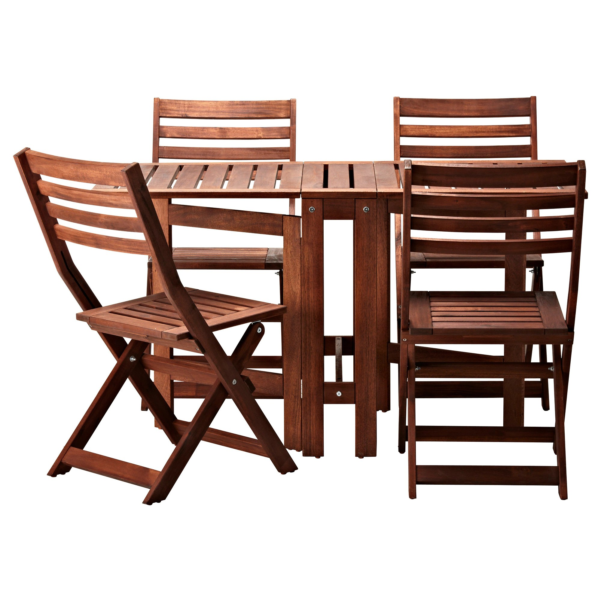 Folding Wooden Table Ikea ÄpplarÖ Table And 4 Folding Chairs Outdoor Brown Stained Brown