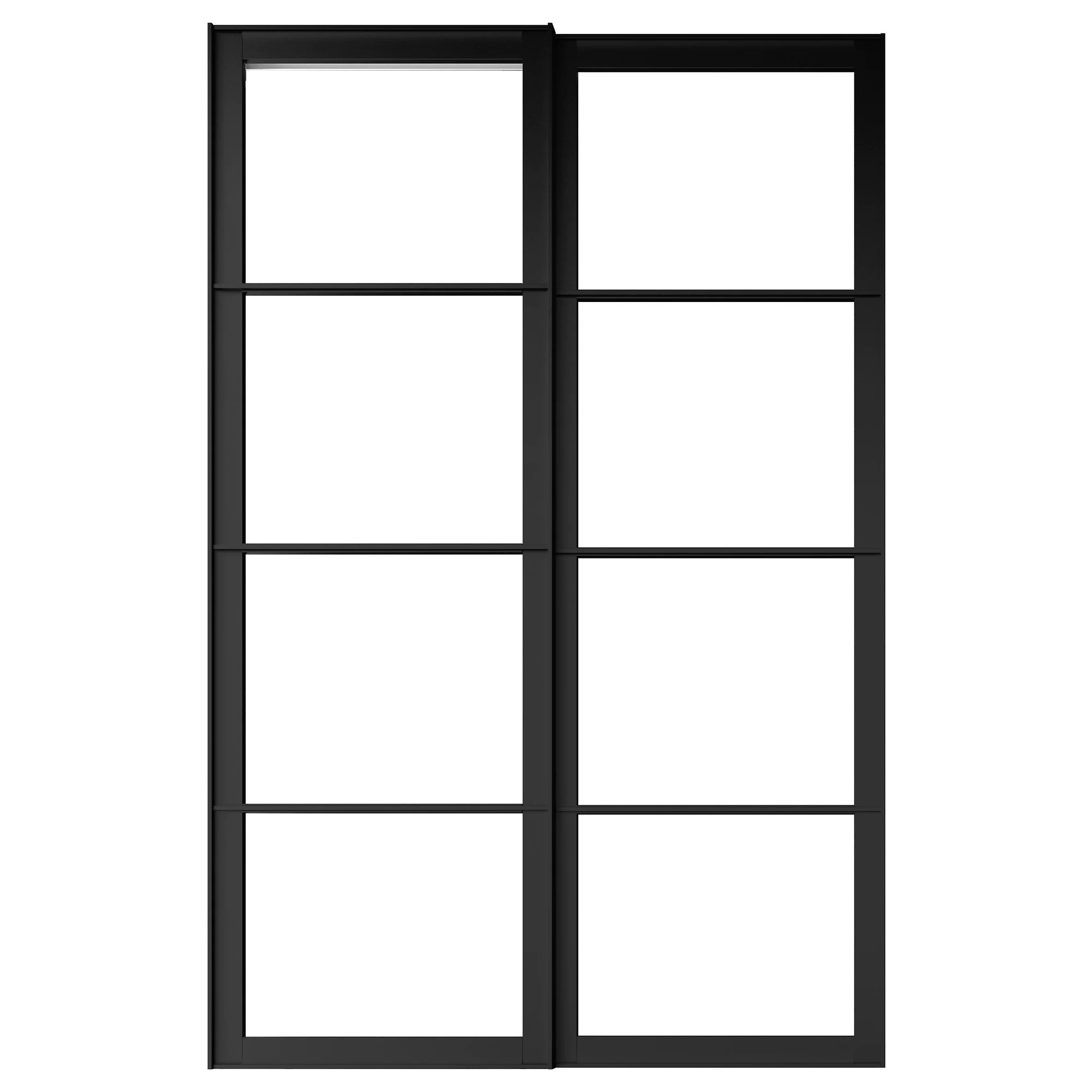 Ikea Pax Click And Collect Pair Of Sliding Door Frames W Rail Pax Black