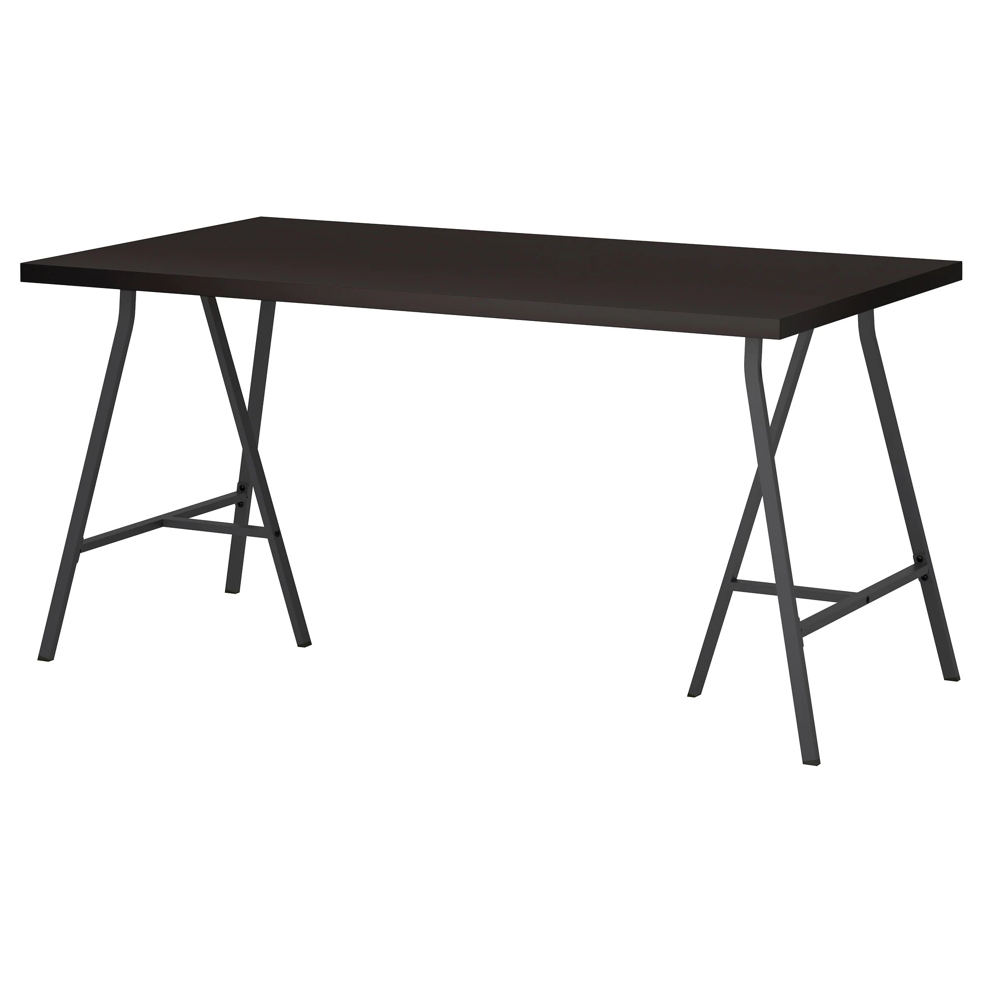 Ikea Table Linnmon Lerberg Table Black Brown Gray