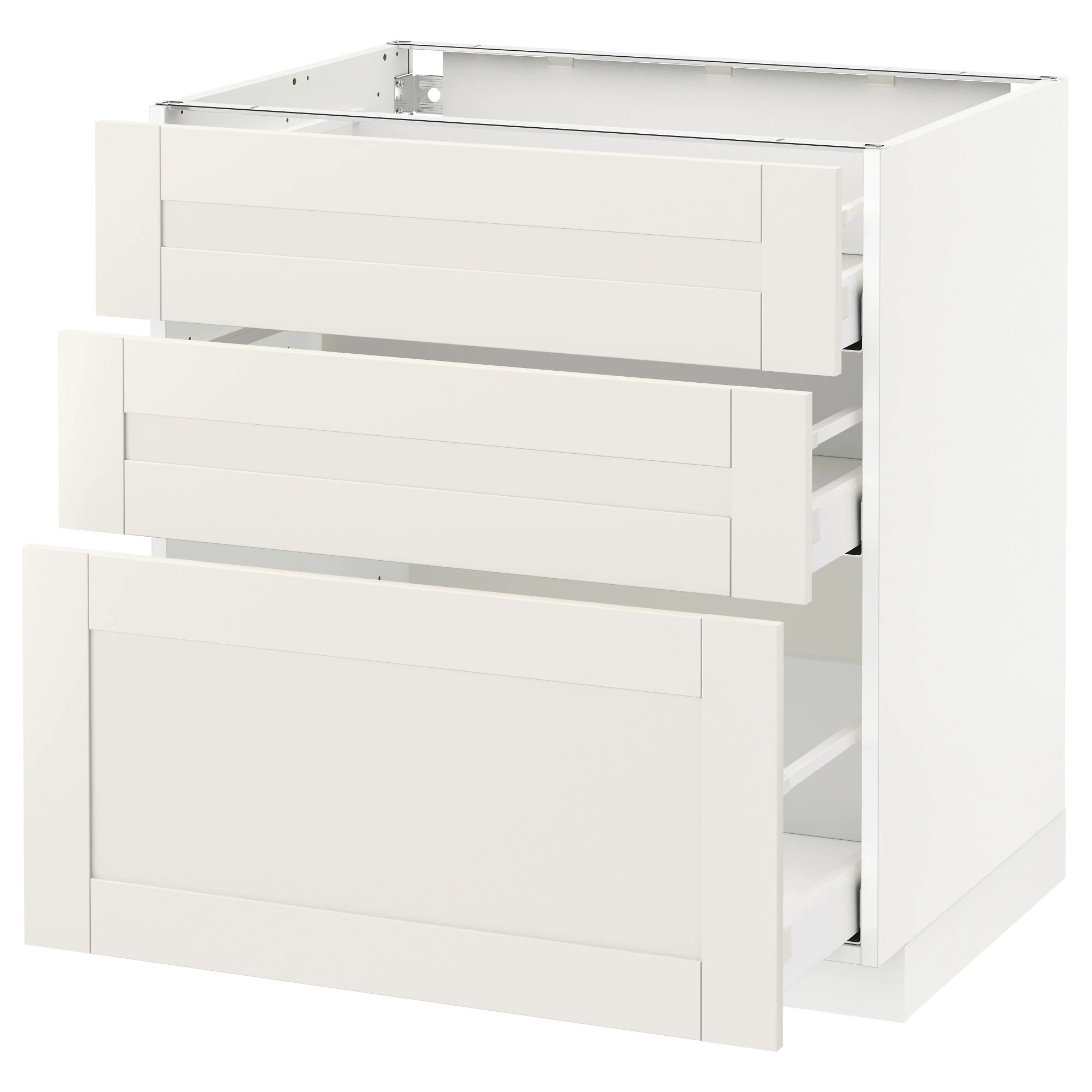 Ikea Sävedal Base Cabinet With 3 Drawers Metod White Maximera Sävedal White