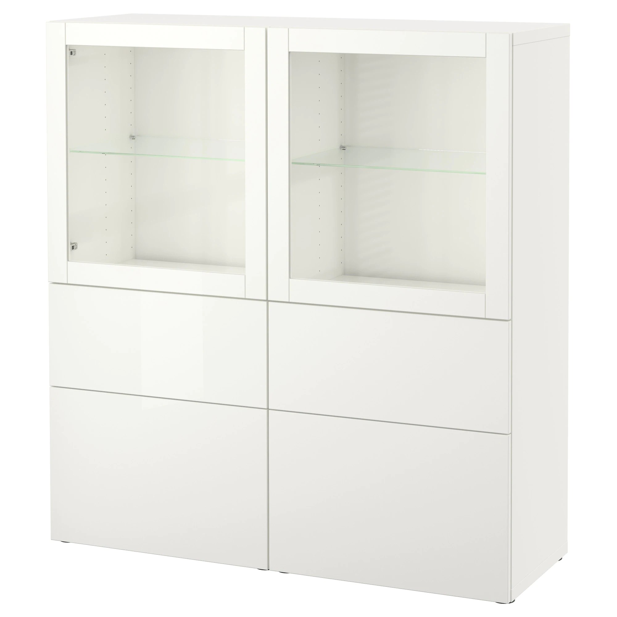 Ikea System BestÅ Storage Combination W Glass Doors Lappviken Sindvik White Clear Glass