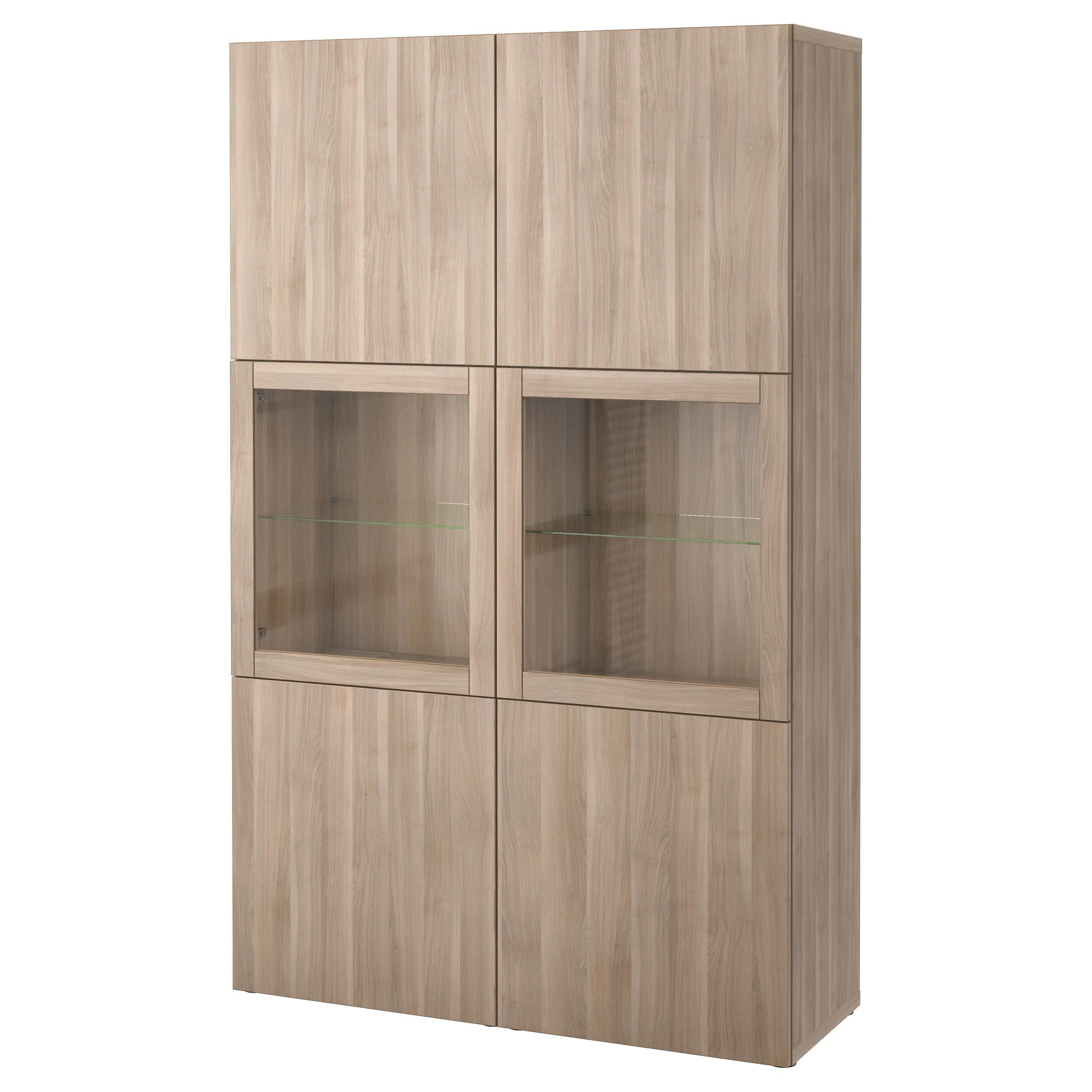 Ikea Kast Besta Storage Combination W Glass Doors BestÅ Lappviken Sindvik Grey Stained Walnut Eff Clear Glass