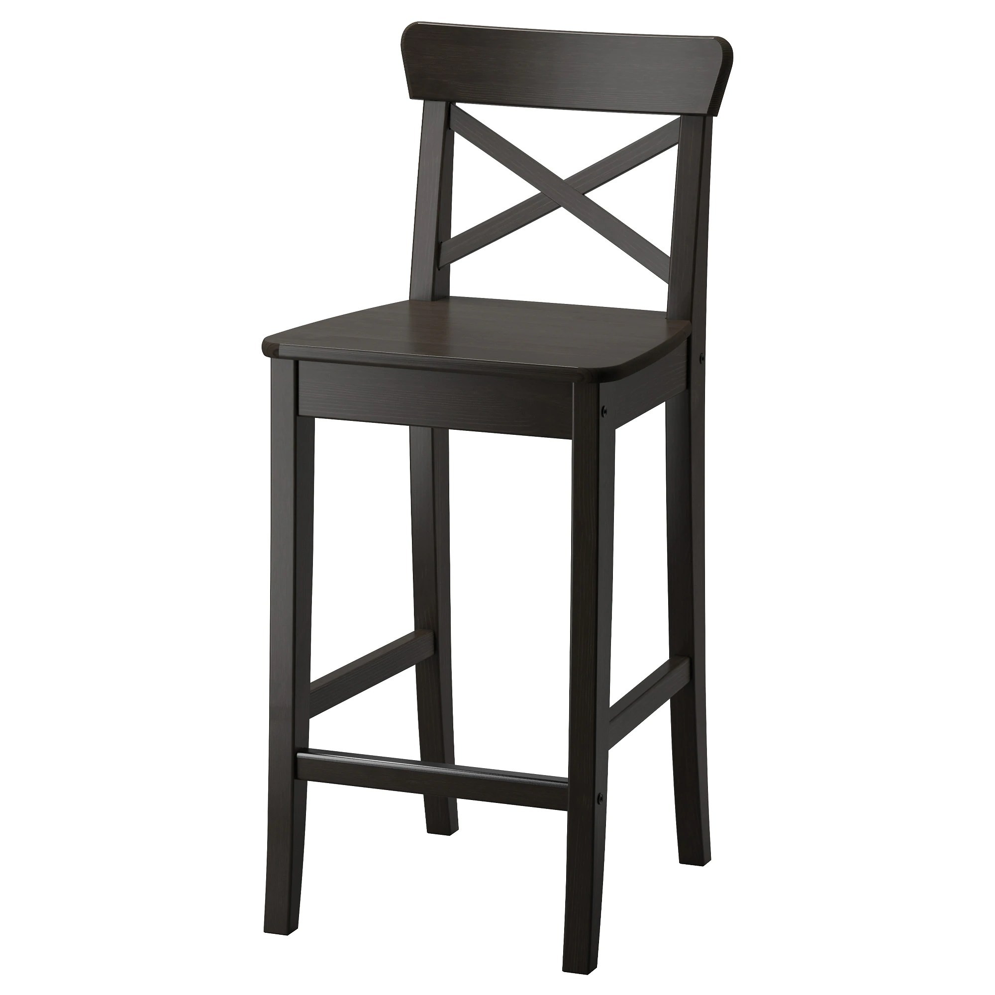 Bar Stool Chairs Ingolf Bar Stool With Backrest Brown Black