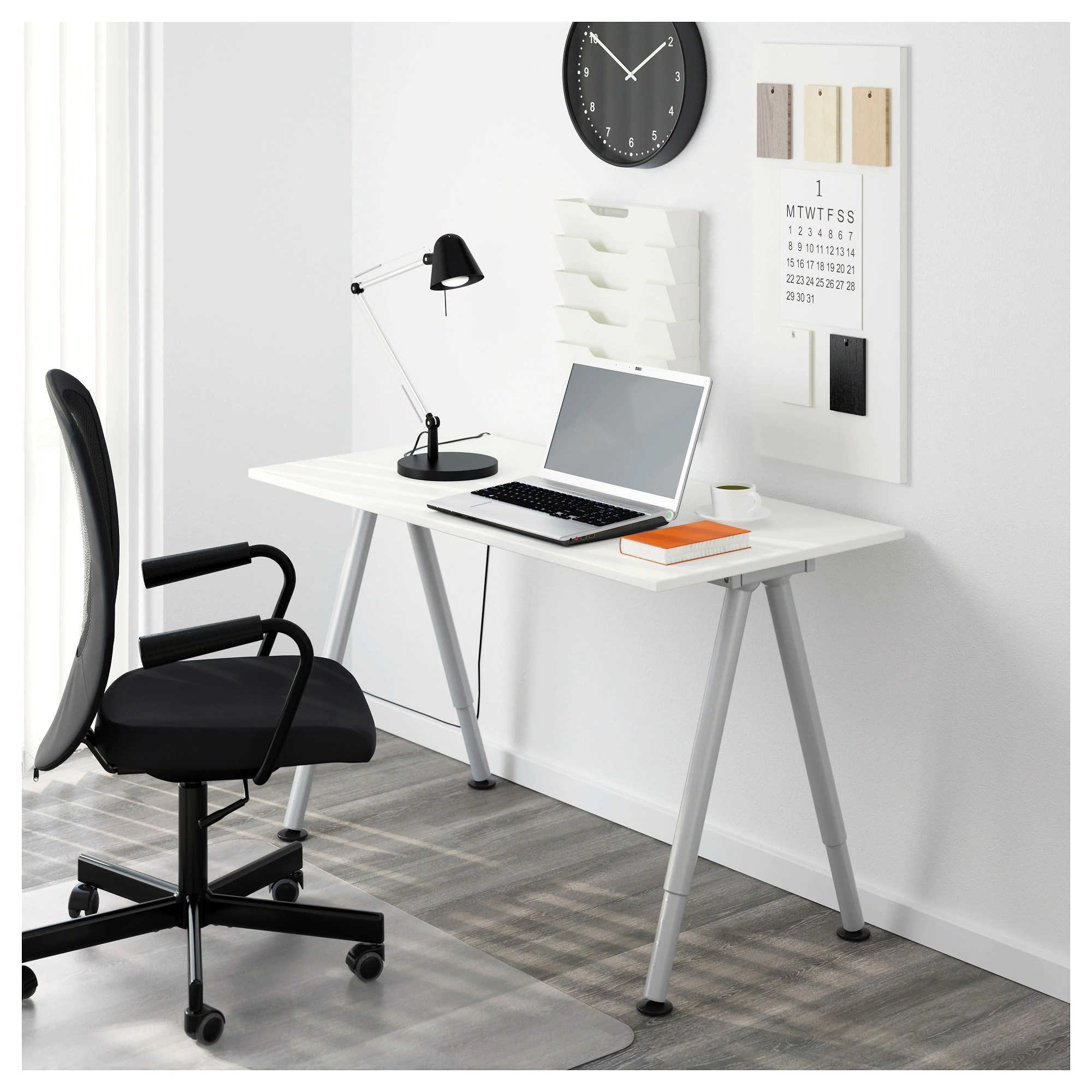 Ikea Desk Top Thyge Desk White Silver Color