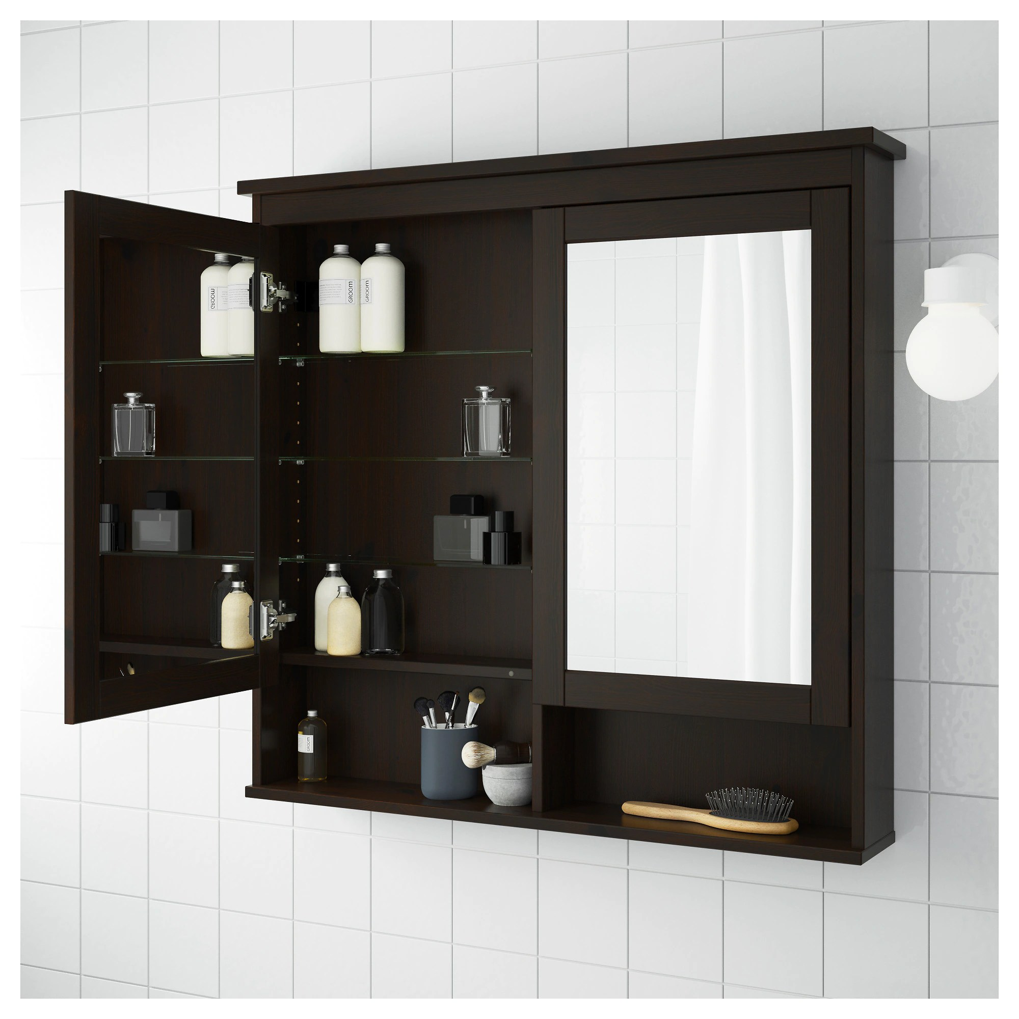 Medicine Cabinet Mirrors Hemnes Mirror Cabinet With 2 Doors Black Brown Stain