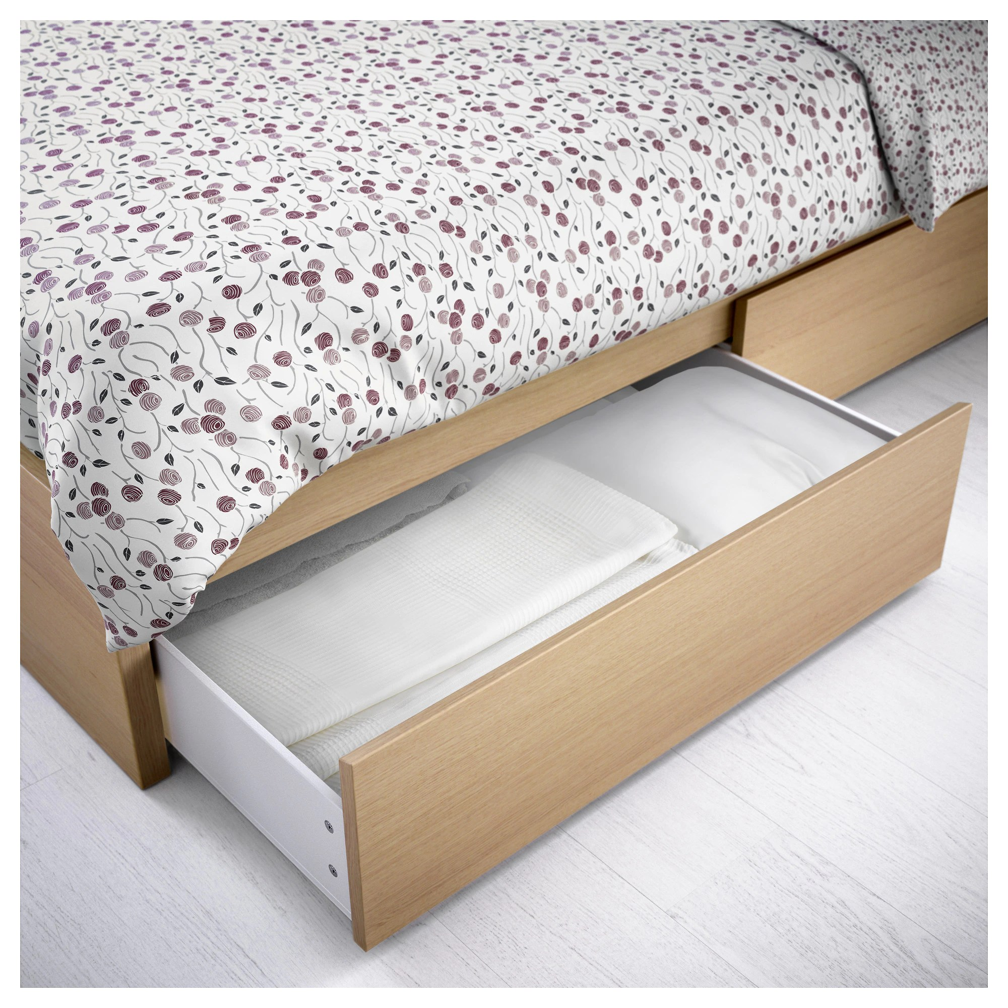 King Single Bed With Drawers Malm Underbed Storage Box For High Bed Black Brown