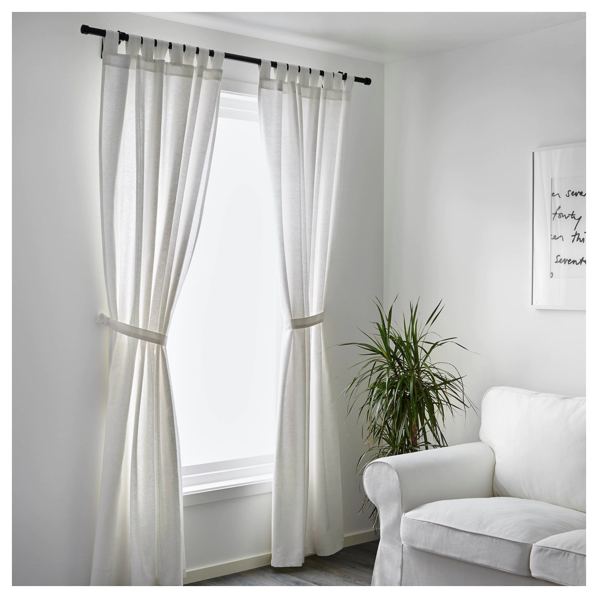 102 Inch Curtains Lenda Curtains With Tie Backs 1 Pair Bleached White