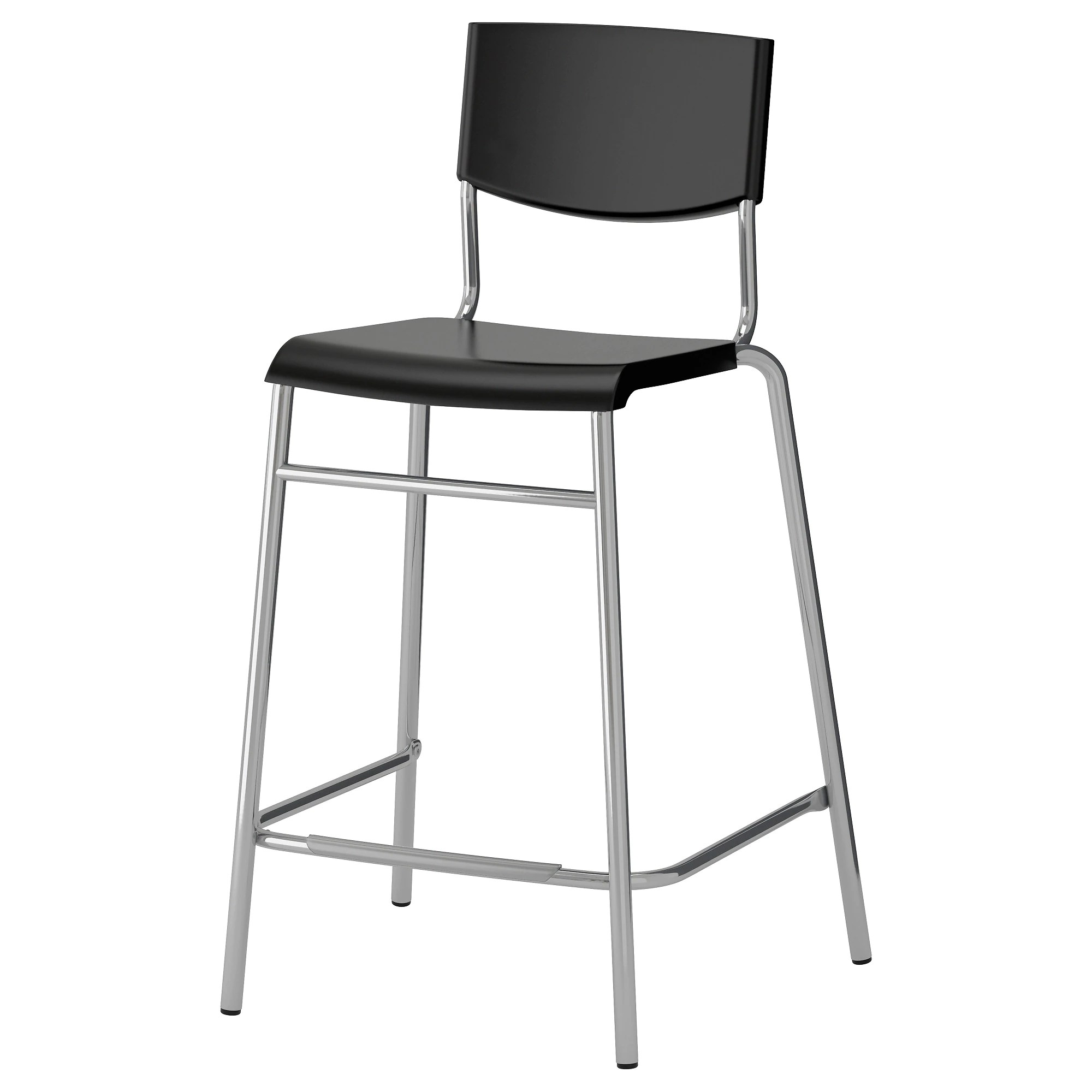 Bar Stool Chairs Stig Bar Stool With Backrest Black Silver Color