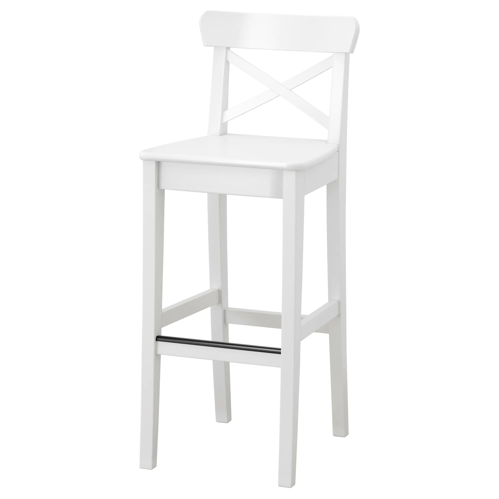 Stool Chair Ingolf Bar Stool With Backrest White