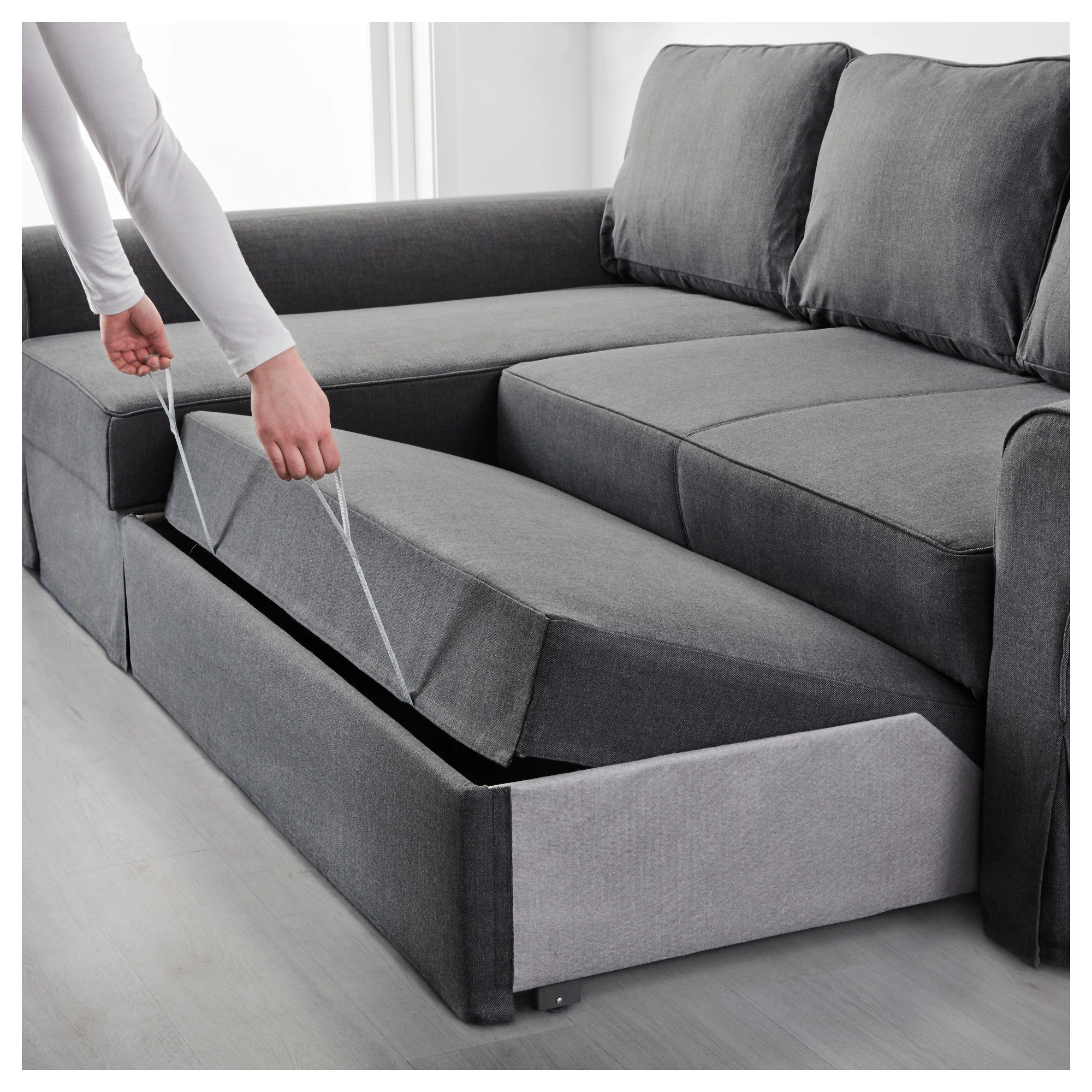 Backabro Ecksofa Backabro Sofa Bed With Chaise Longue Nordvalla Dark Grey Ikea
