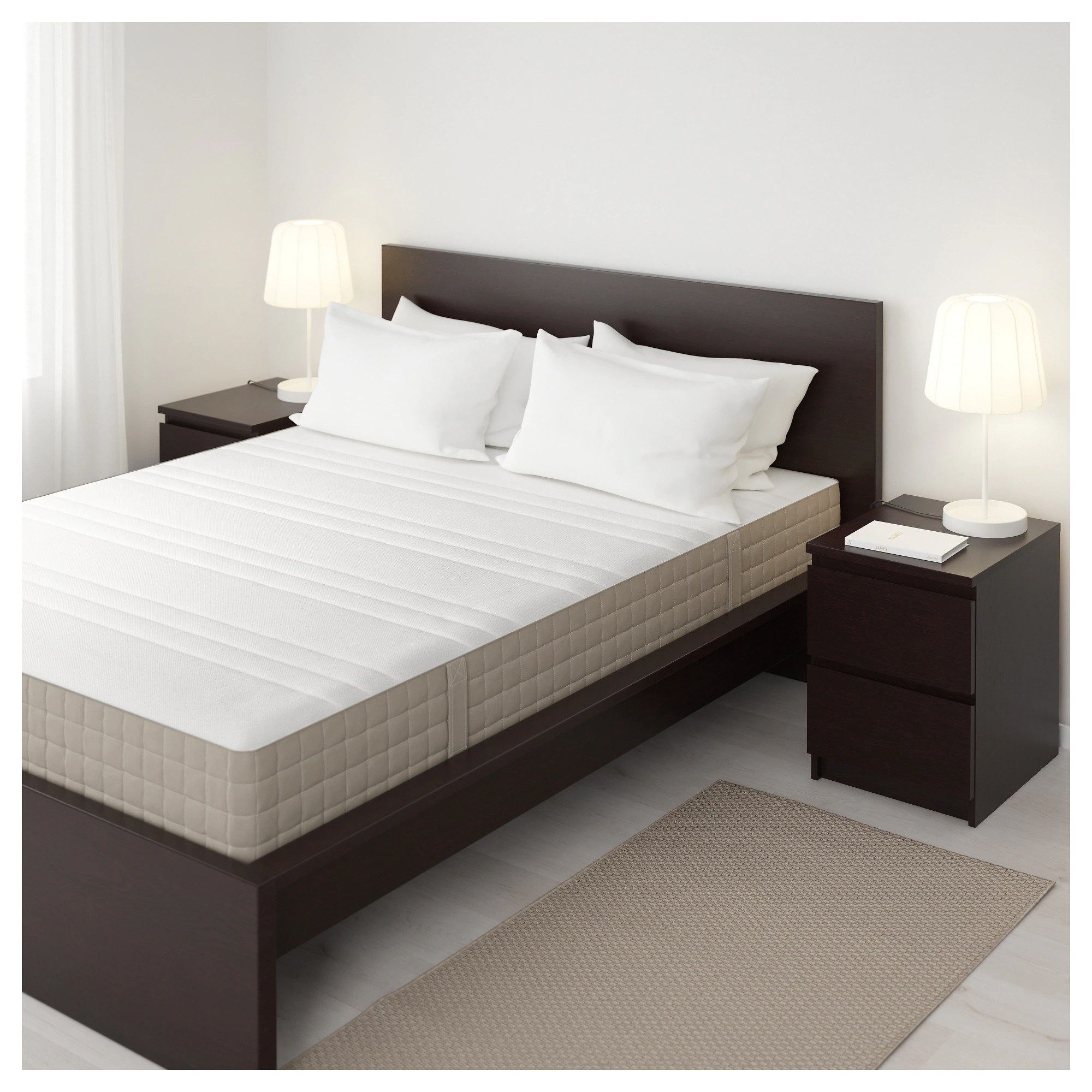 Bedroom Mattress Haugesund Spring Mattress Medium Firm Dark Beige