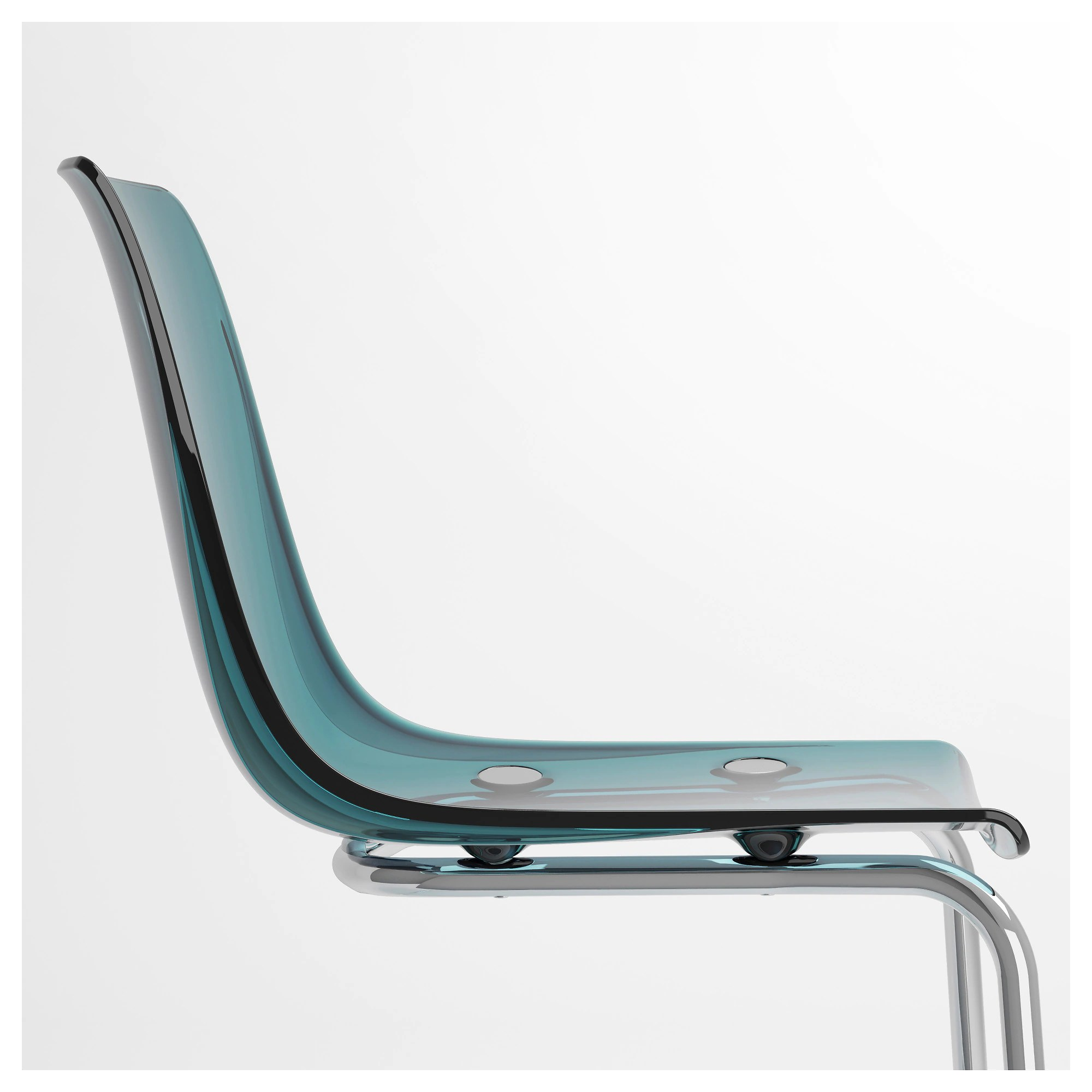 Chaise Polycarbonate Ikea Tobias Chair Blue Chrome Plated