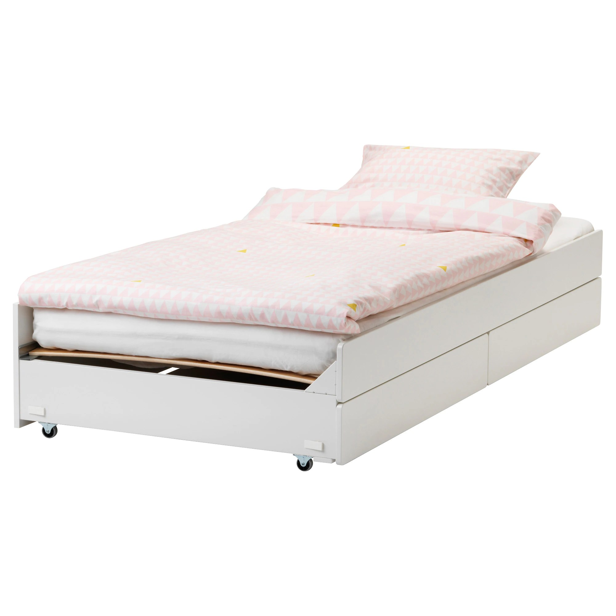 Childrens Beds With Pull Out Bed Underneath SlÄkt Pull Out Bed With Storage White