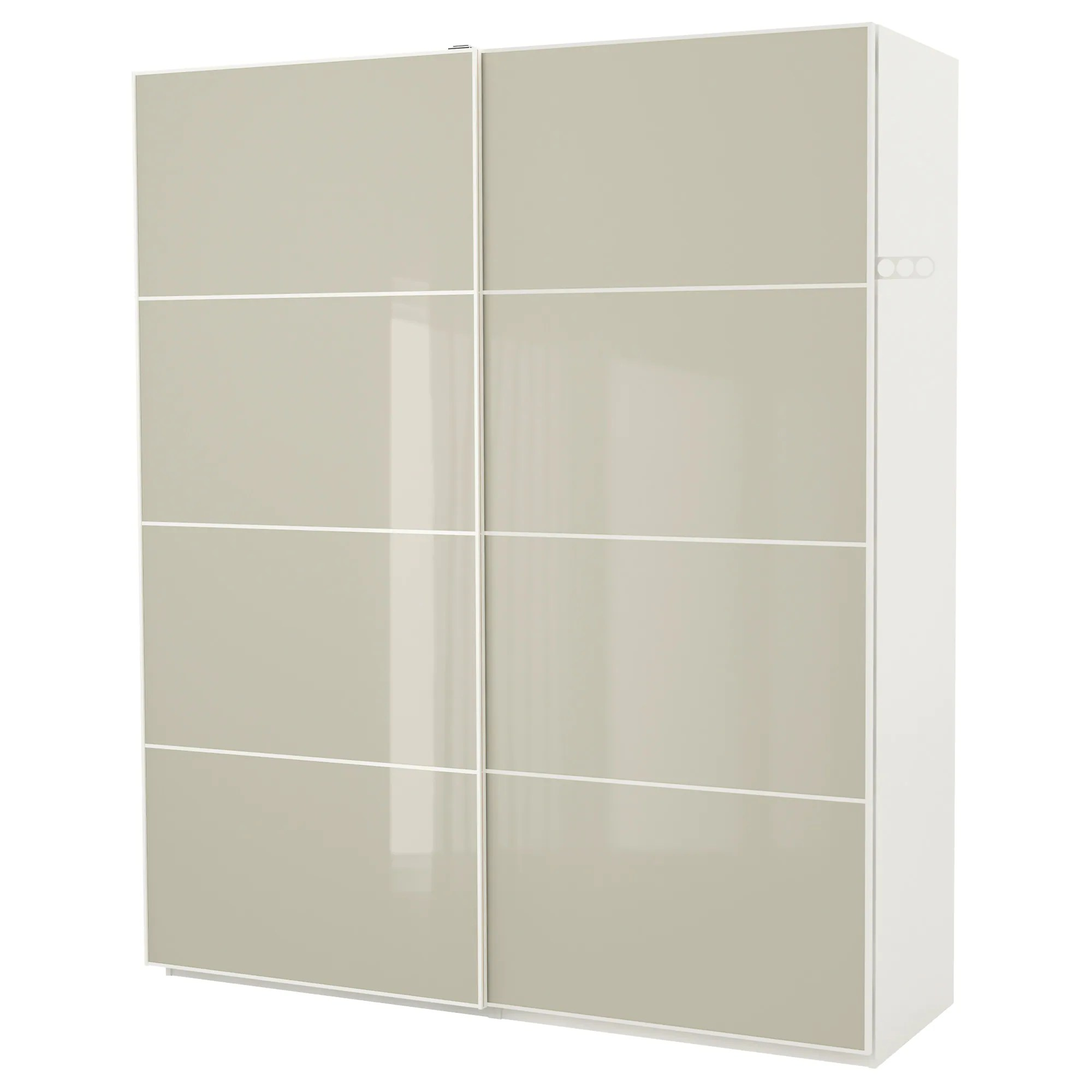 Ikea Schrank Code Pax Wardrobe White Hokksund Hokksund High Gloss Light Beige
