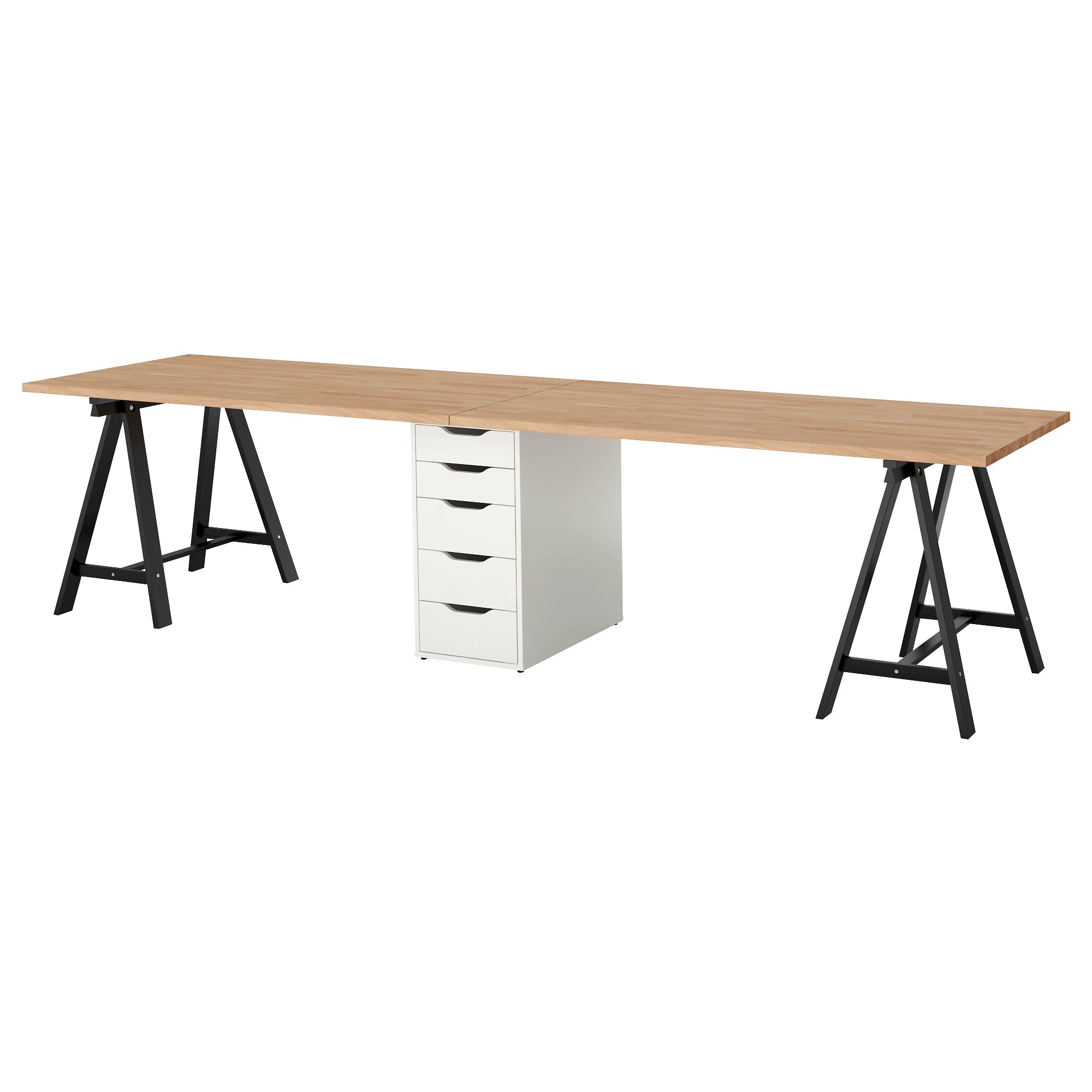 Bureau Pin Miel Table Gerton Hêtre Noir Blanc