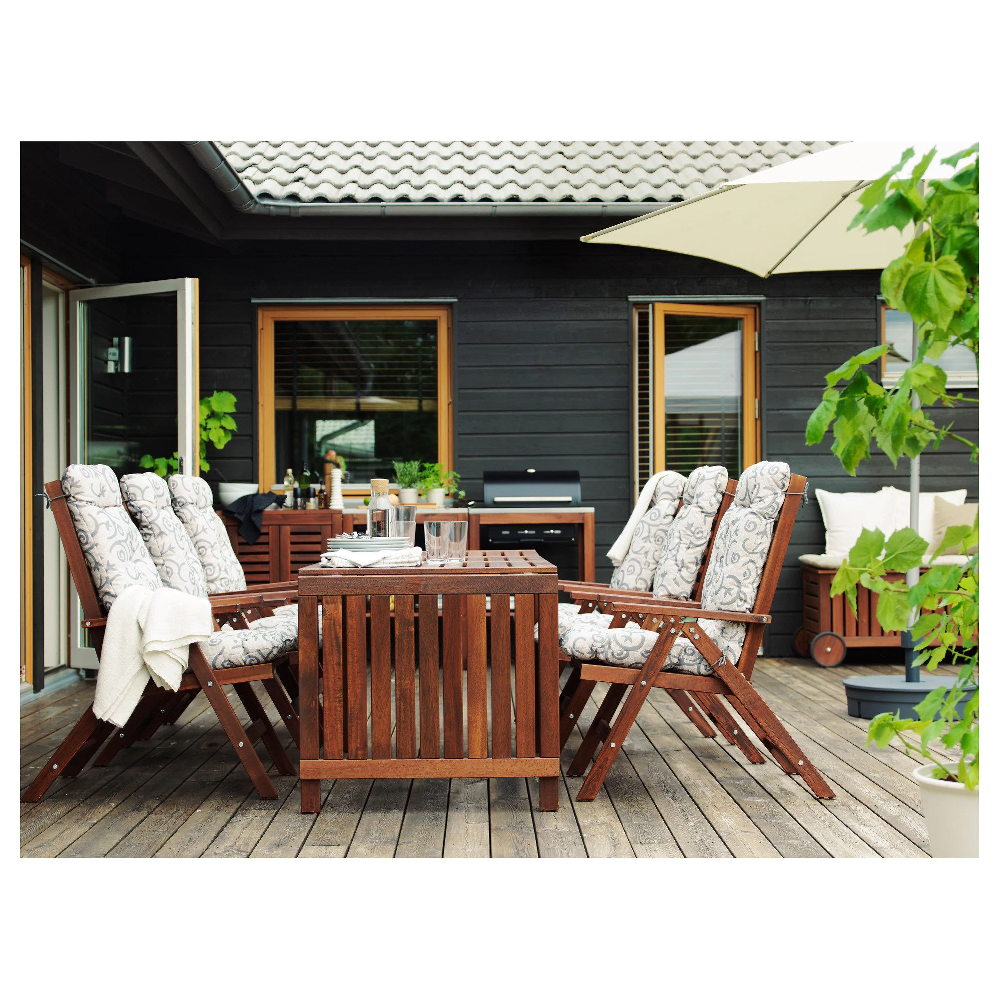 Ikea Outdoor Furniture ÄpplarÖ Drop Leaf Table Outdoor Brown Stained Brown