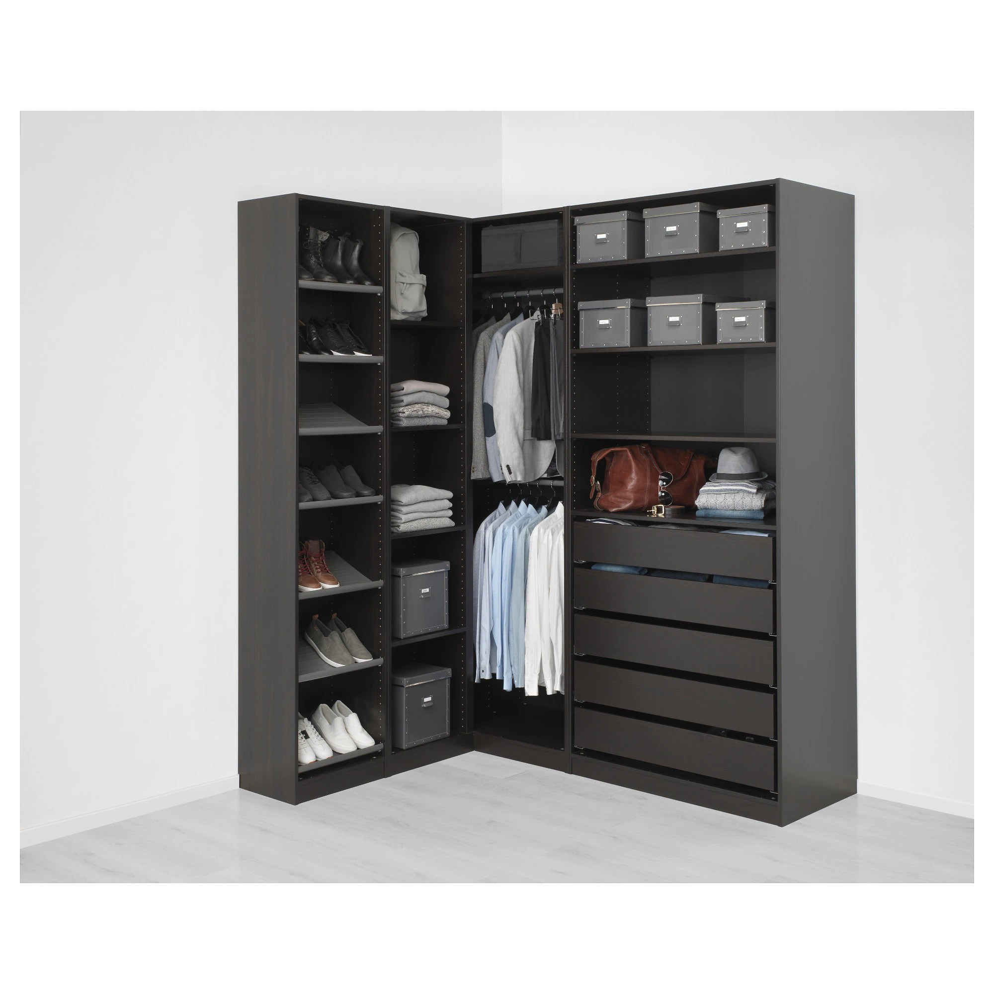 Ikea Guardaroba Pax Planner Pax Corner Wardrobe Black Brown