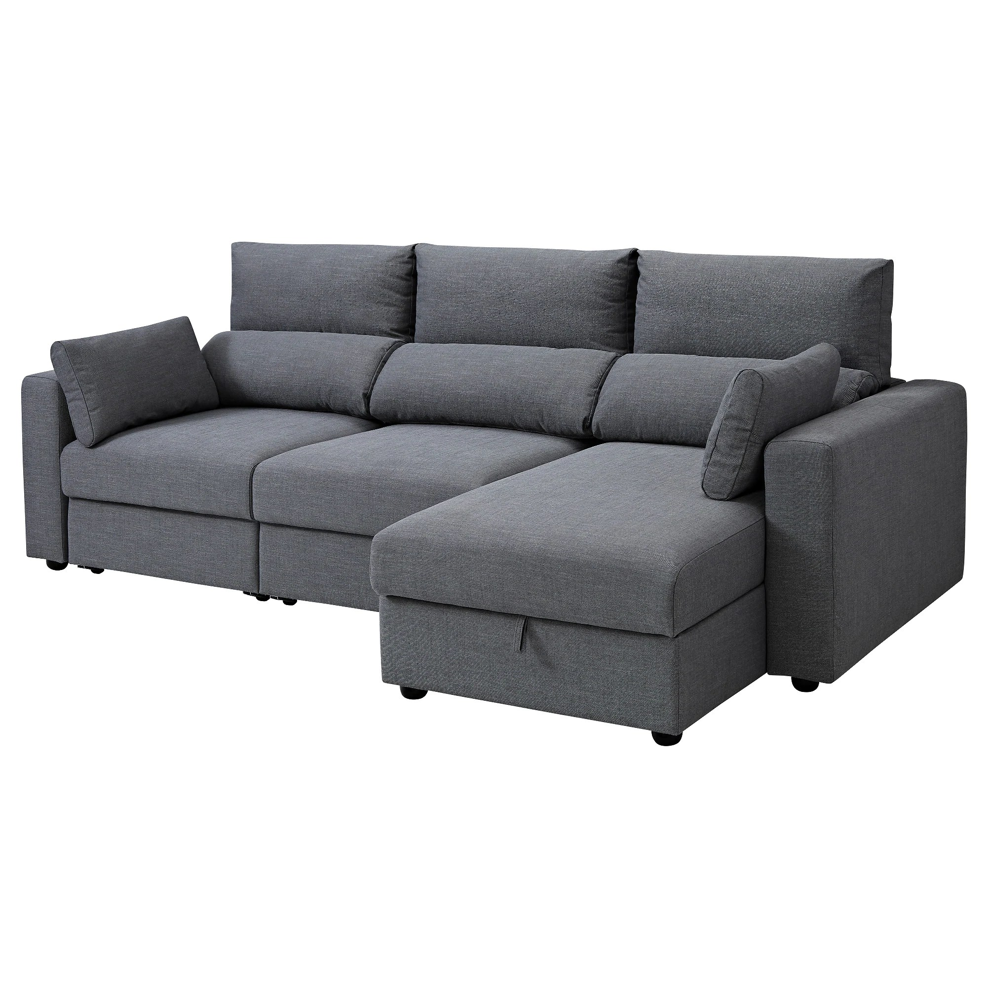 Chause Longue 3 Seat Sofa With Chaise Longue Eskilstuna Nordvalla Dark Grey