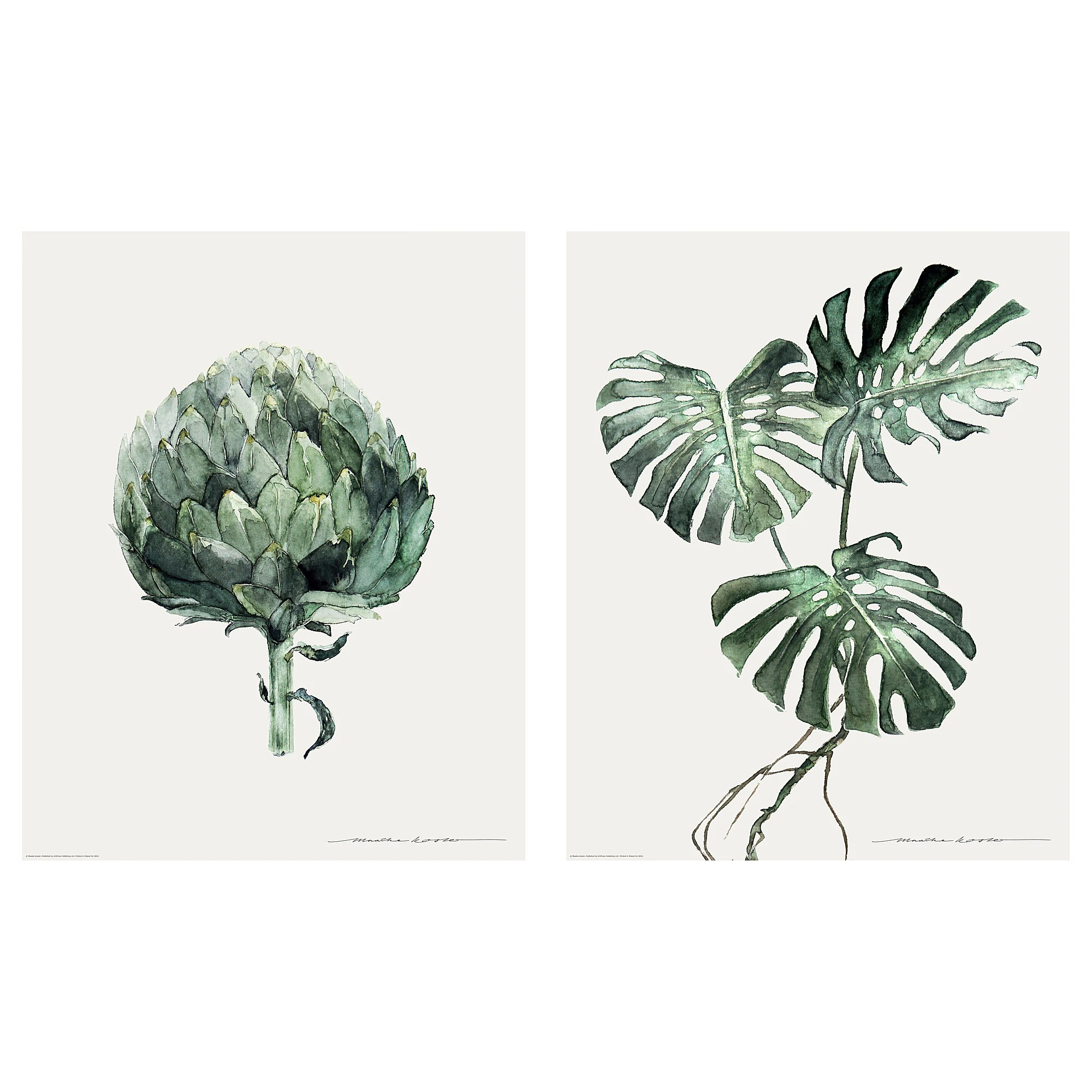 Ikea Poster Poster Set Of 2 Tvilling Green Leaves