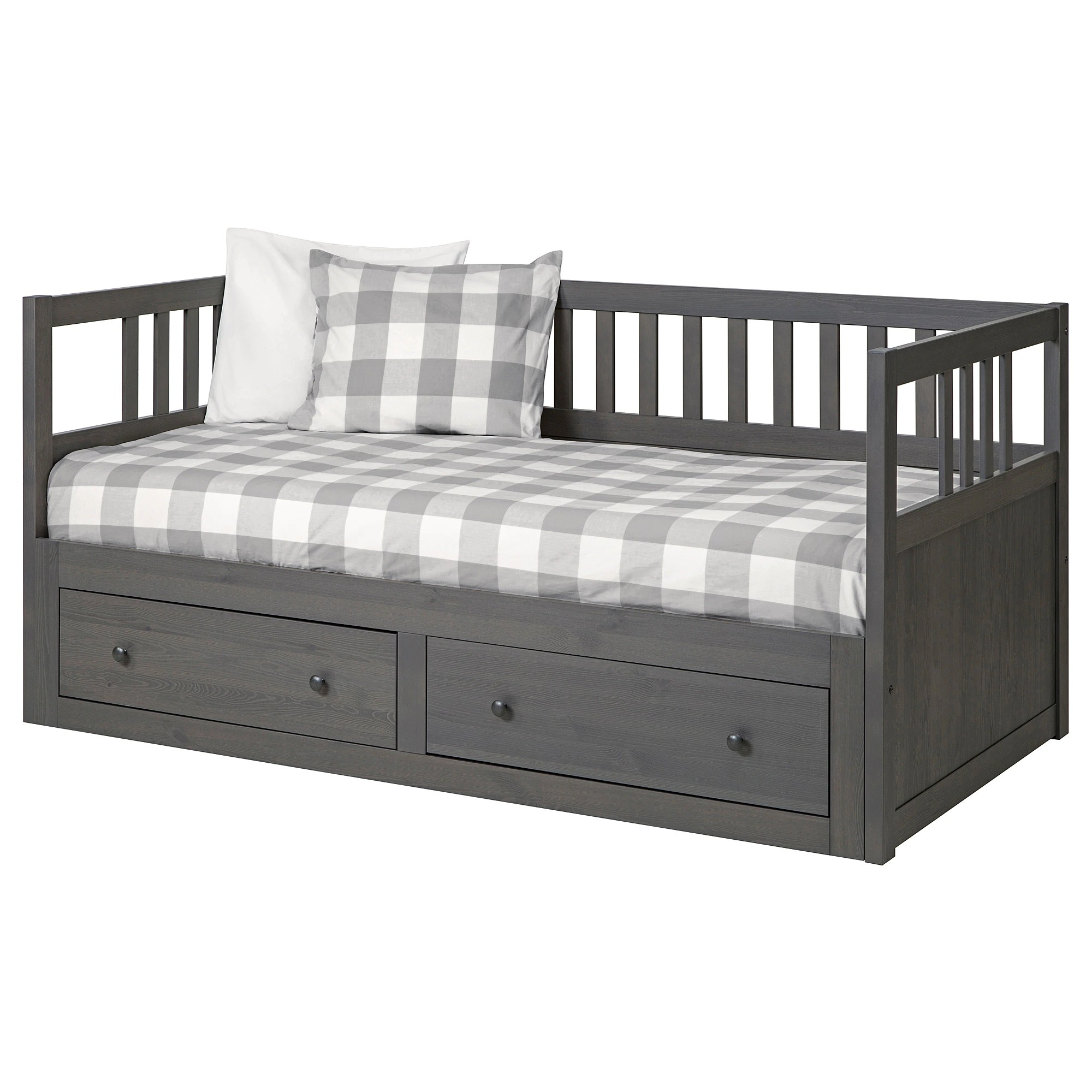 King Single Bed With Drawers Hemnes Daybed Frame With Storage Dark Gray Stained
