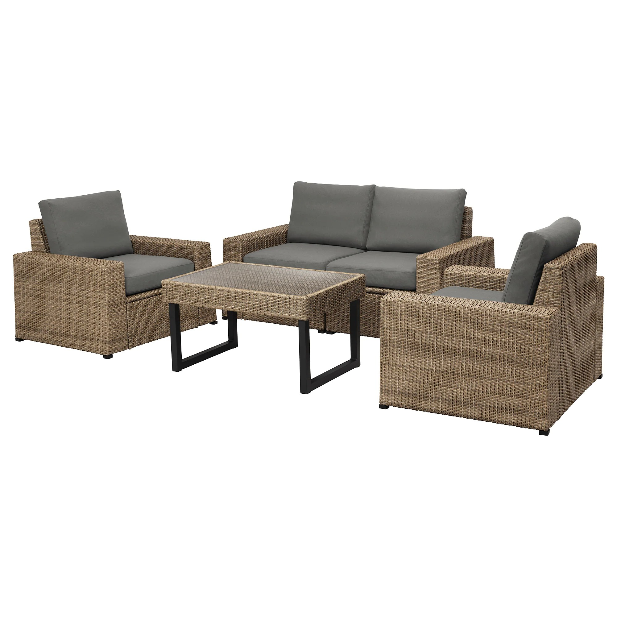 Rattan Table SollerÖn 4 Seat Conversation Set Outdoor Brown Hållö Beige