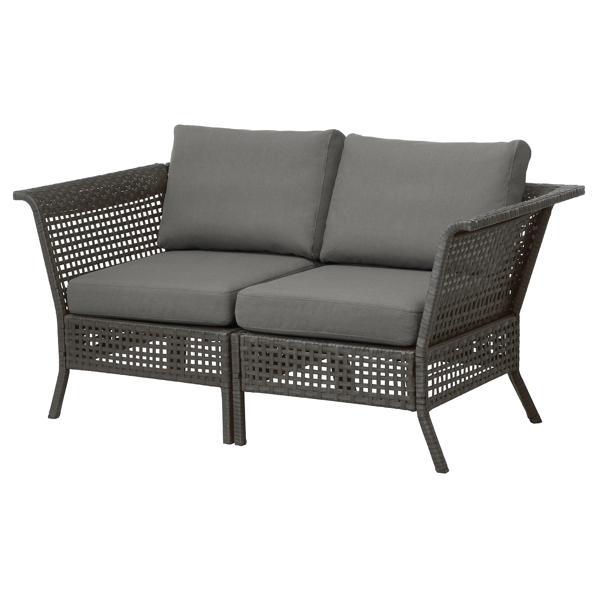 Outdoor Sofa Kungsholmen 2 Seat Modular Sofa Outdoor Black Brown Frösön Duvholmen Dark Gray