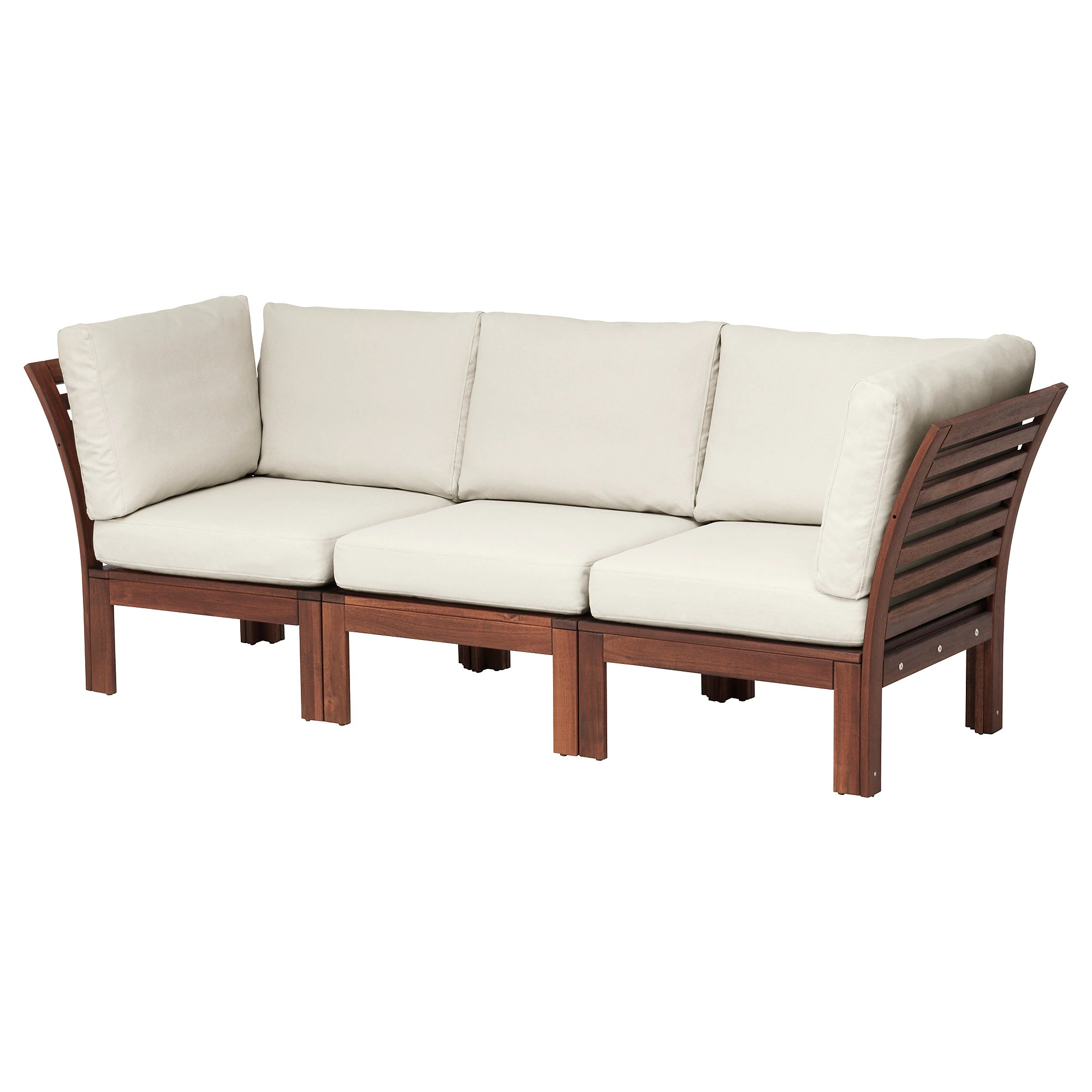 Outdoor Sofa ÄpplarÖ 3 Seat Modular Sofa Outdoor Brown Brown Stained Hållö Beige Beige