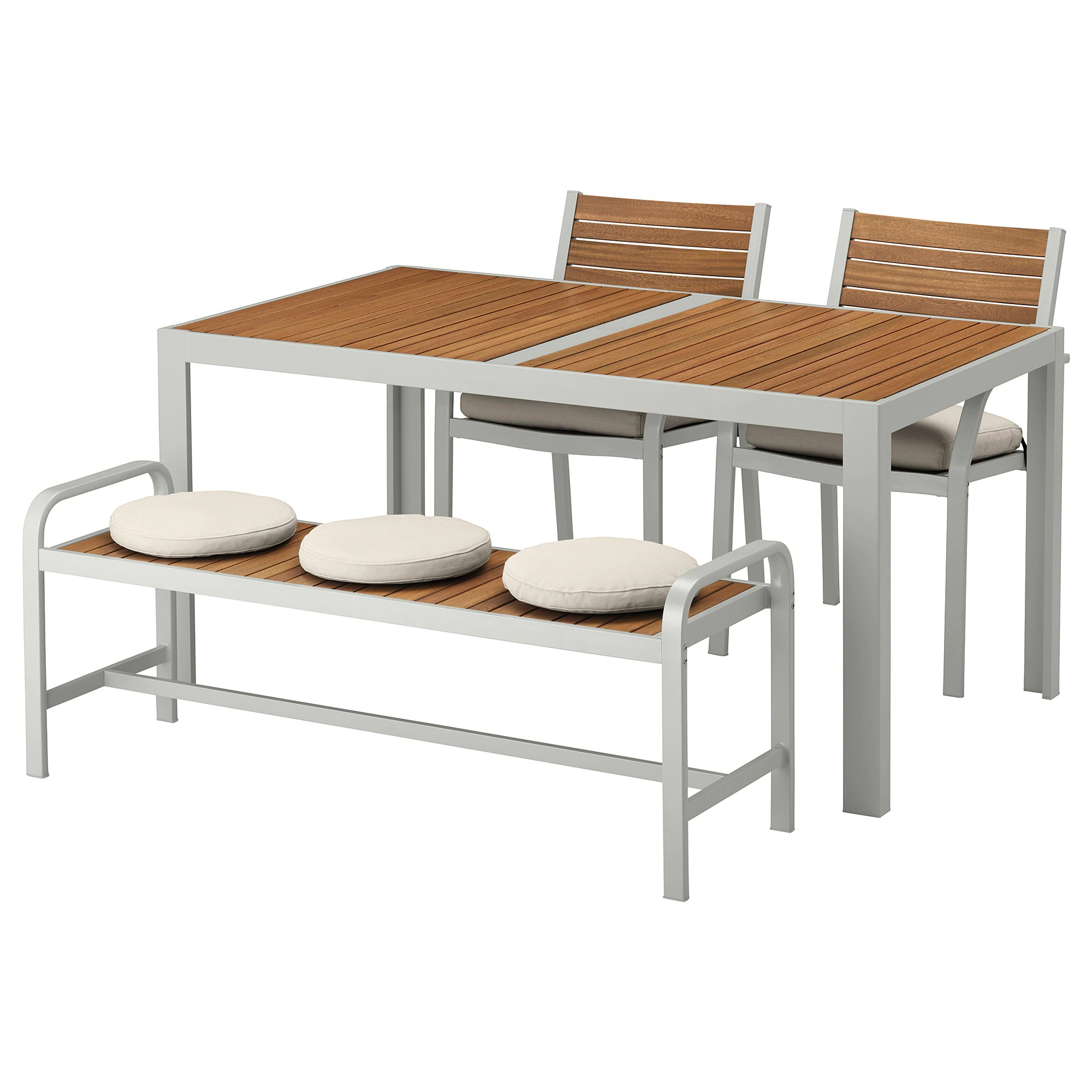 Ikea Outdoor Furniture SjÄlland Table 2 Chairs And Bench Outdoor Light Brown Light Gray