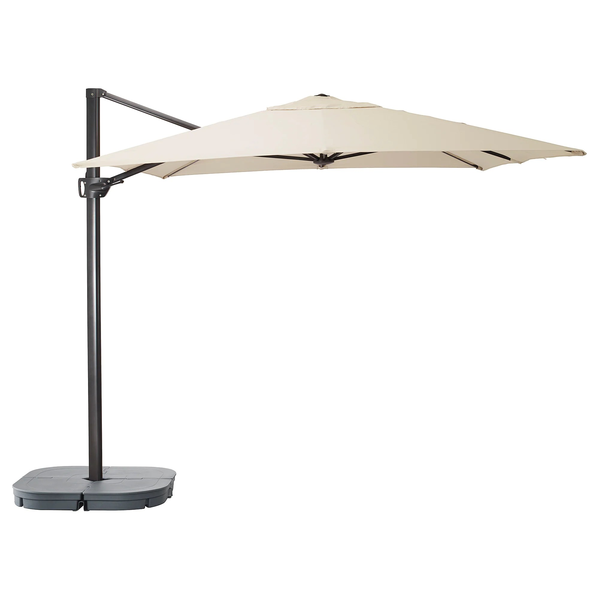 Parasol 350 Cm Parasol Hanging With Base SeglarÖ SvartÖ Tilting Beige Dark Grey