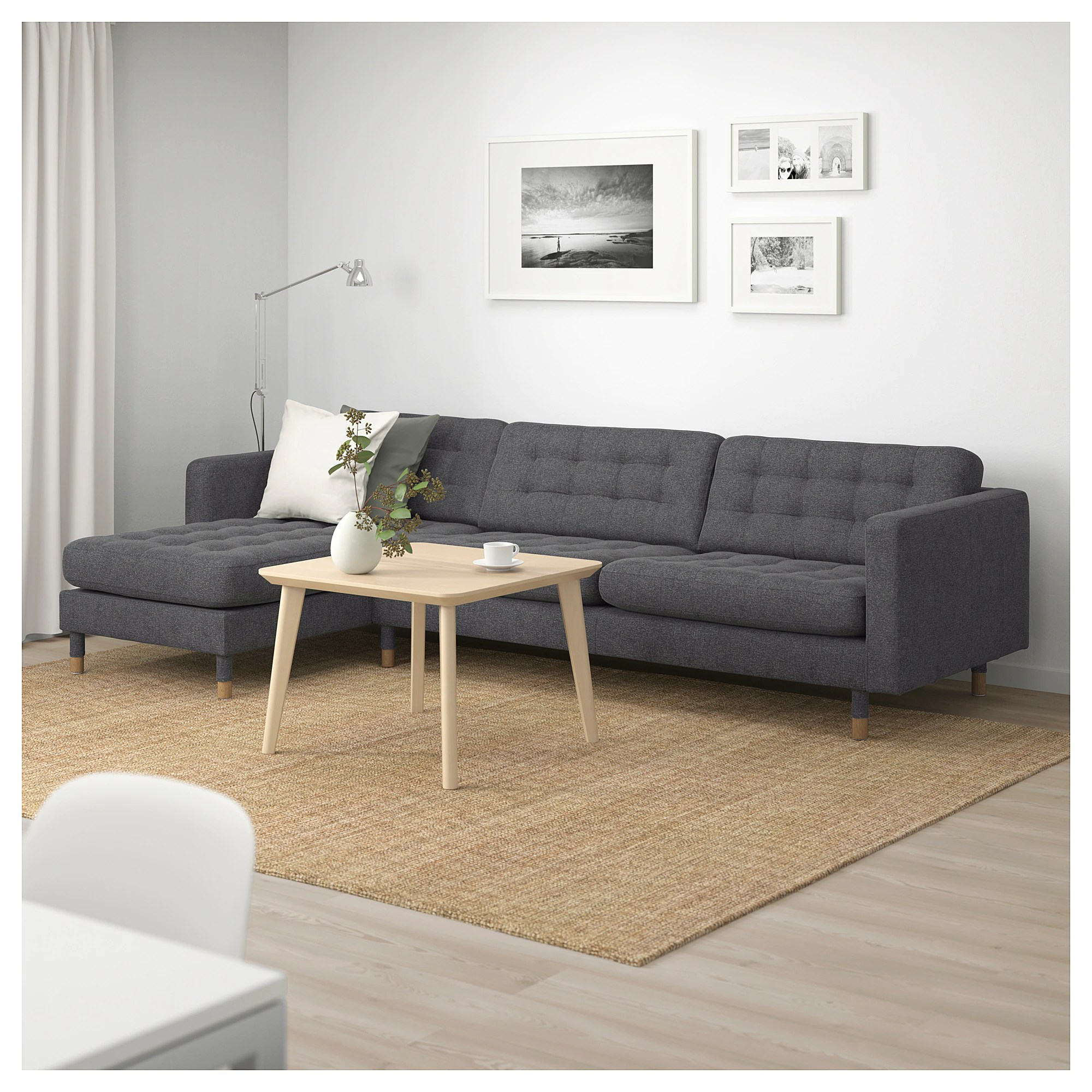 Ikea Sofa 4 Seater Landskrona Sectional 4 Seat With Chaise Gunnared Light Green Wood