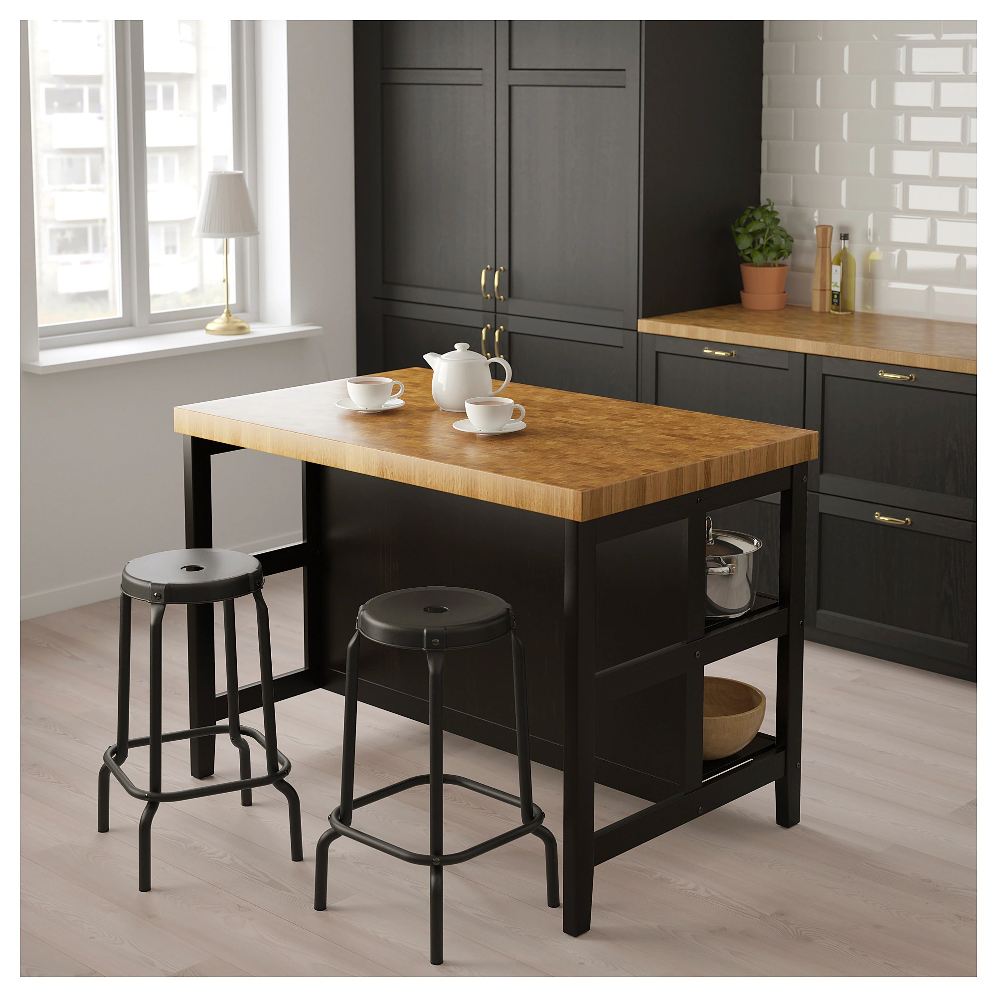 Black Island Kitchen Vadholma Kitchen Island Black Oak